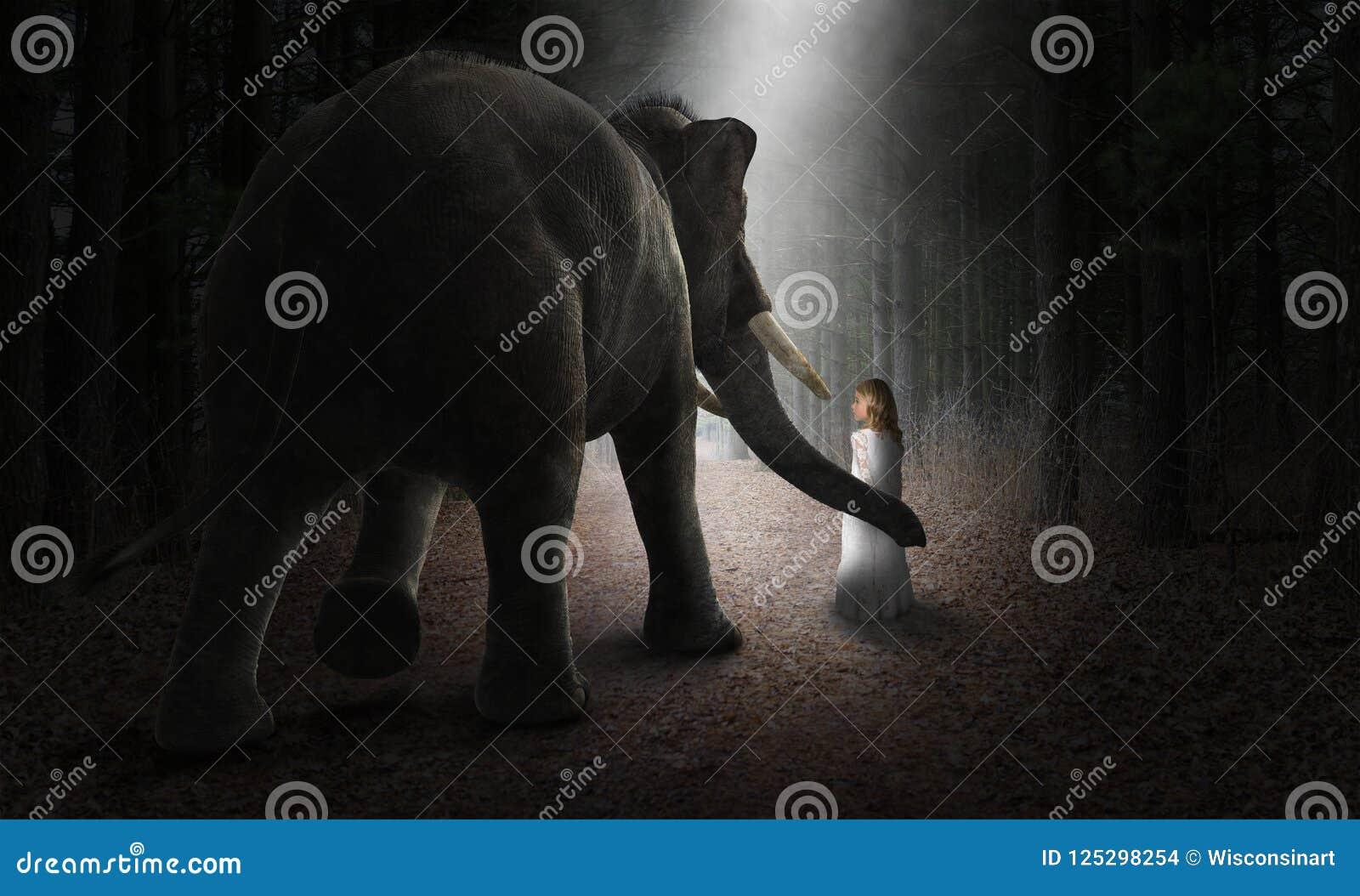 Elefante surrealista, muchacha, amigos, amor, naturaleza