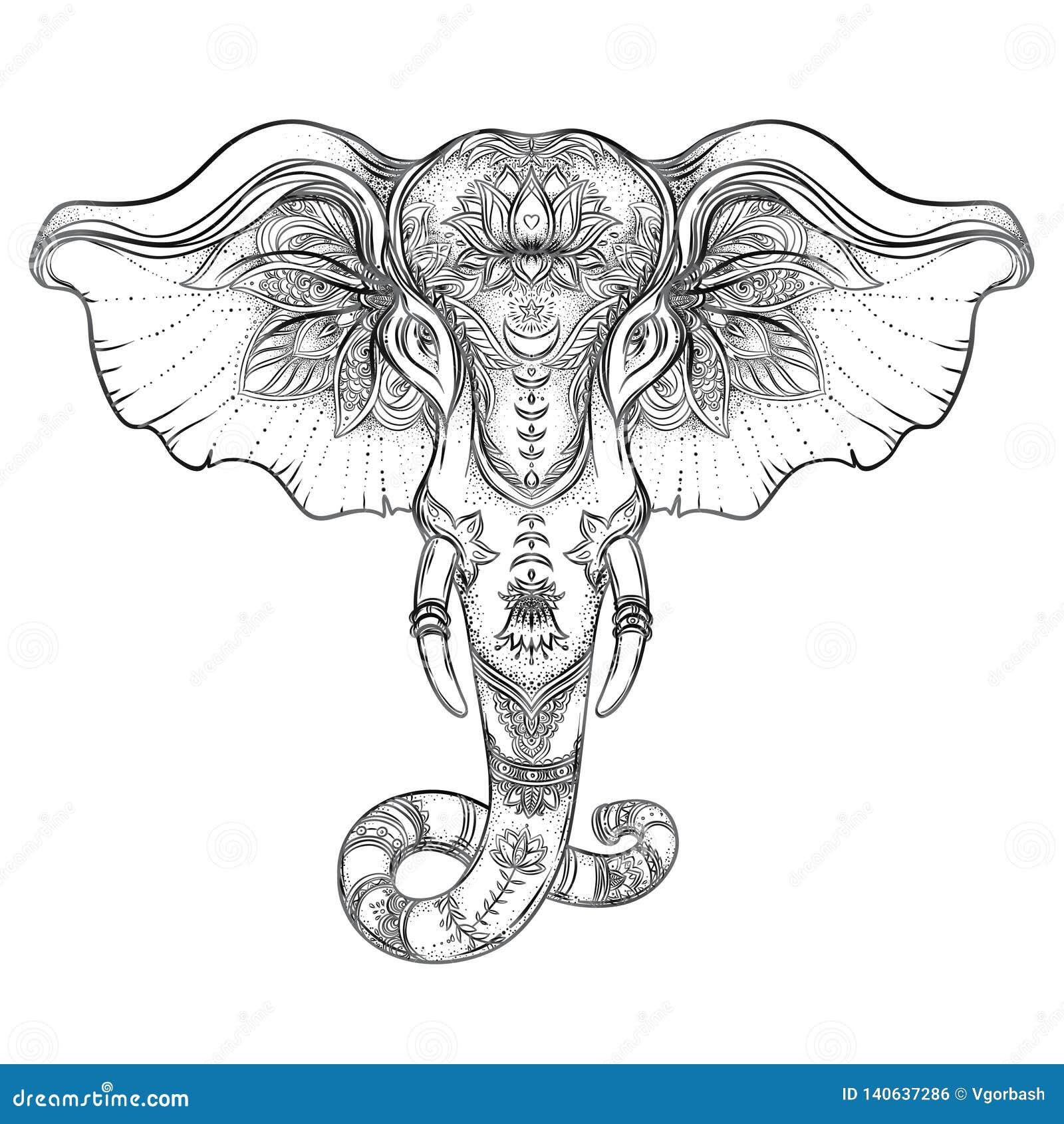 Elefante tribal a mano hermoso del estilo Diseño del libro de colorear con los modelos de la mandala del boho, ornamentos Origen