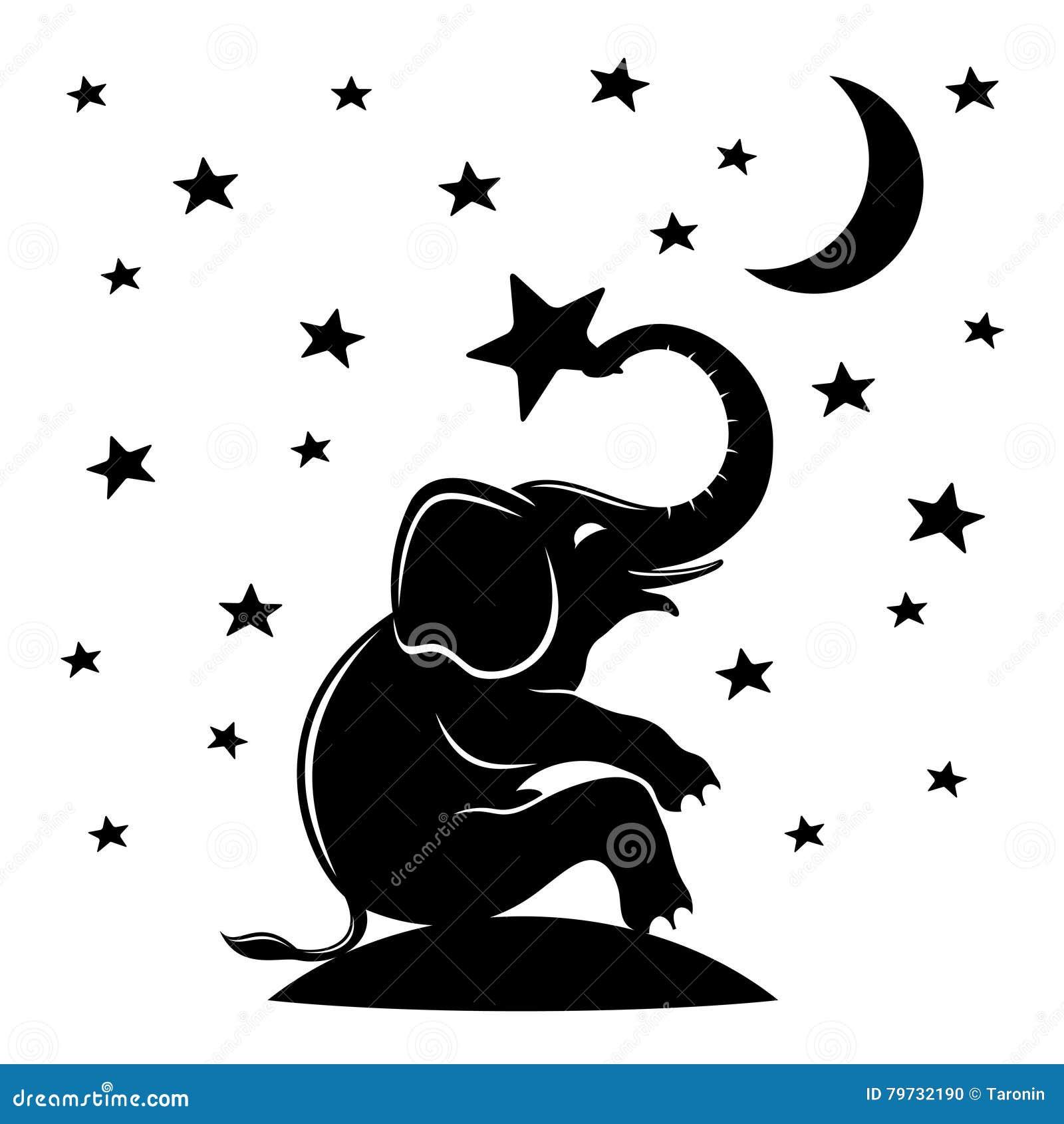 Elefante y estrellas que se sientan