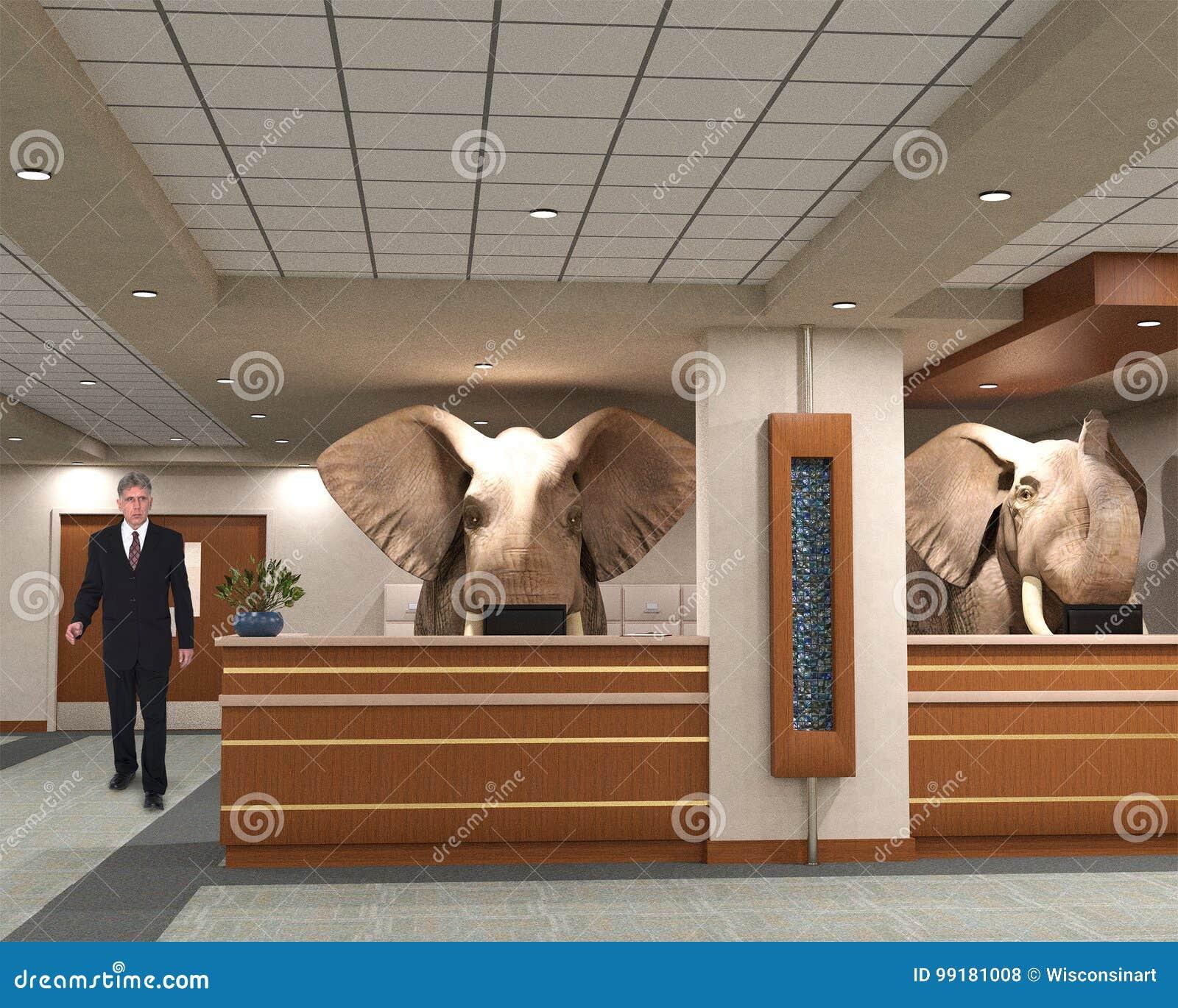 Elefanter för affärskontor, försäljningar, marknadsföring