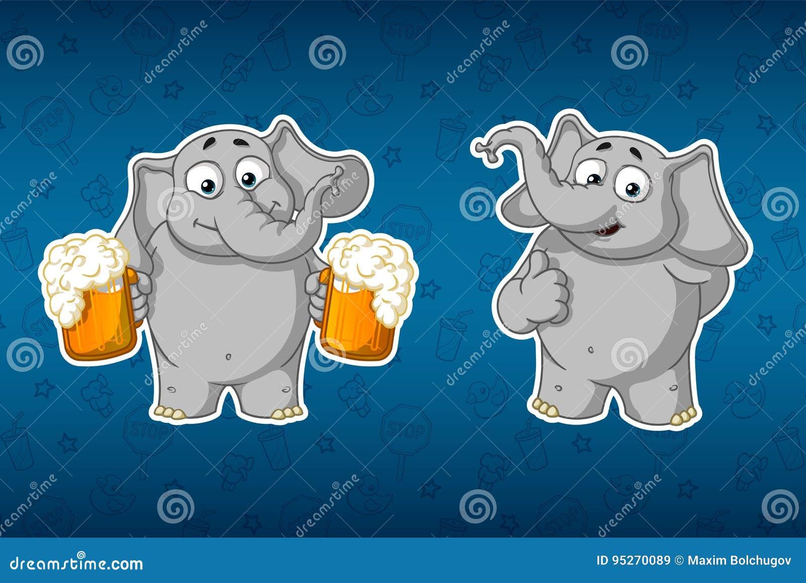 Elefantes de las etiquetas engomadas Él sostiene las tazas de cerveza y ofrece a la bebida Él aumentó su finger para arriba, como