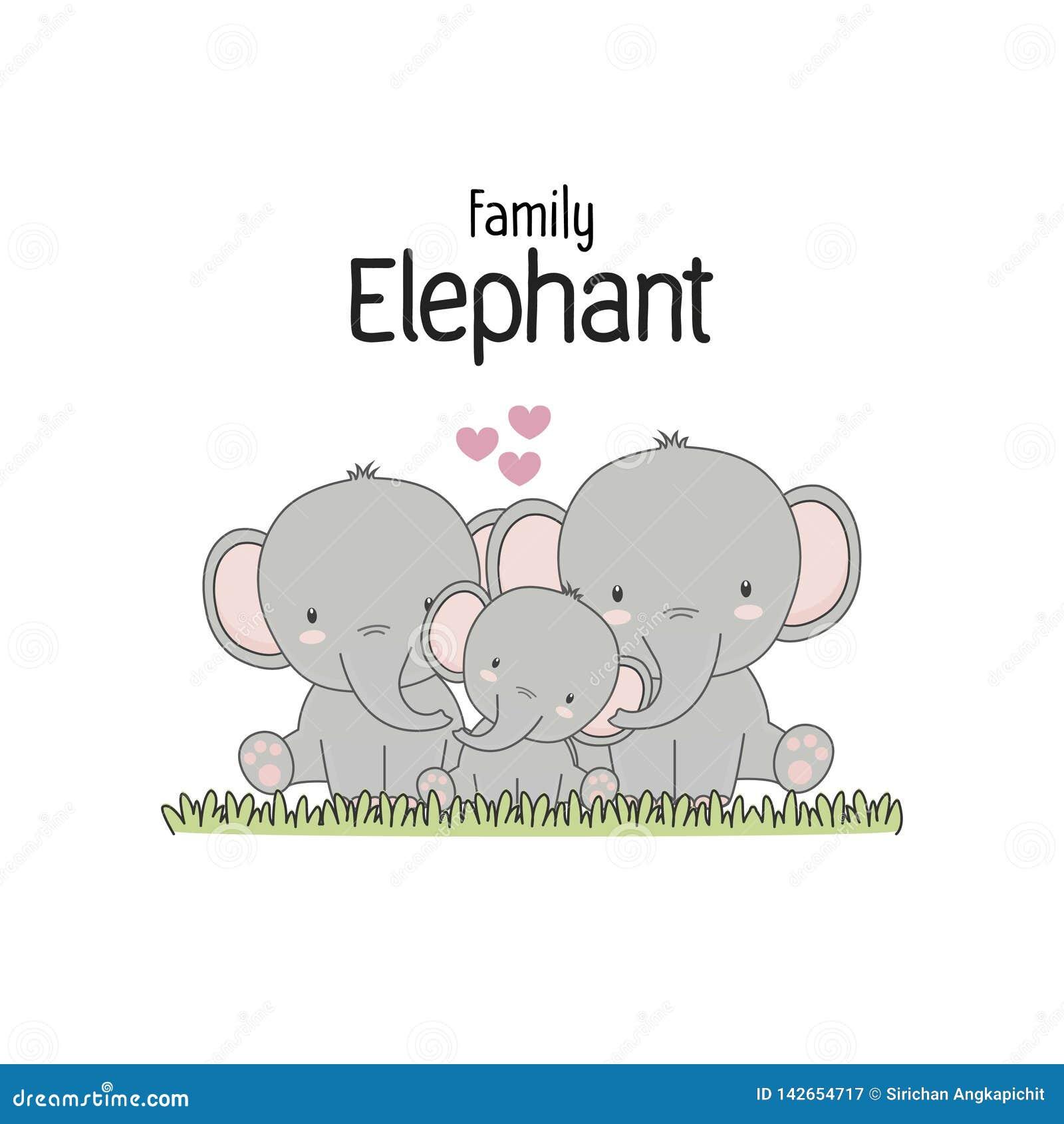 Elefantfamiljfader Mother och att behandla som ett barn också vektor för coreldrawillustration