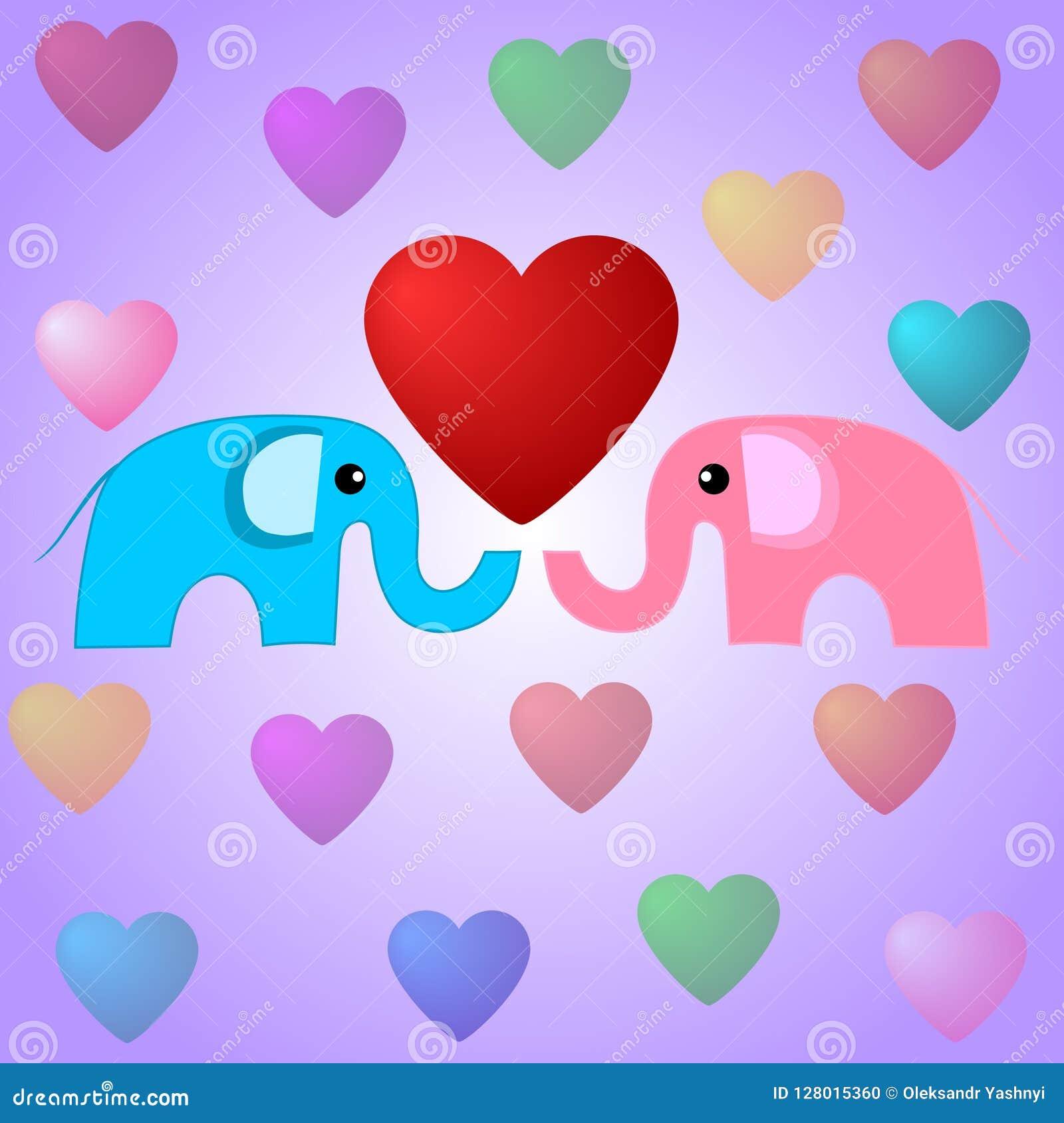 Elefanti e cuori svegli Illustrazione di giorno di biglietti di S. Valentino Elefanti nell amore Illustrazione di vettore per la