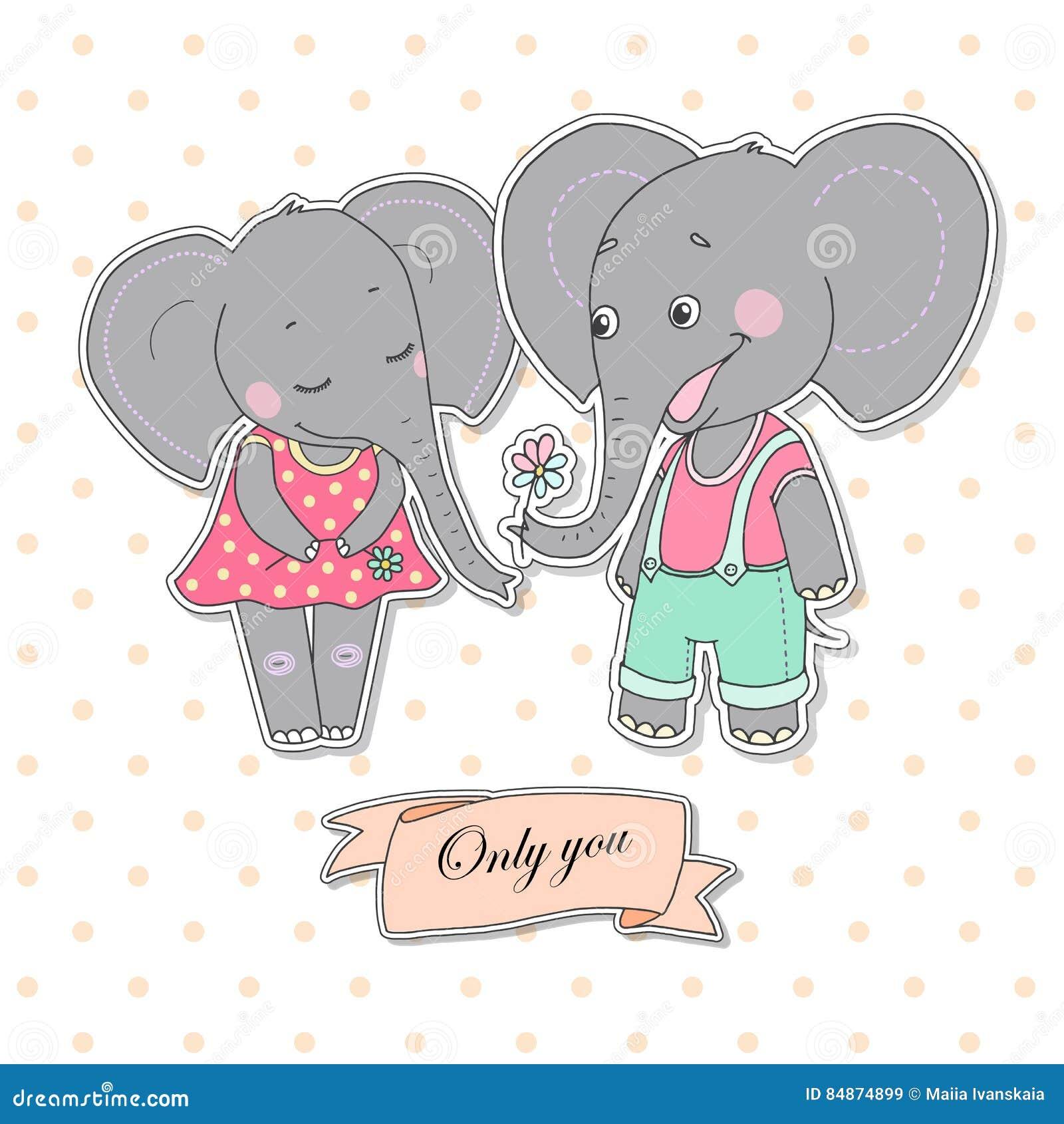 Elefanti Svegli Delle Coppie Innamorati Illustrazione Vettoriale