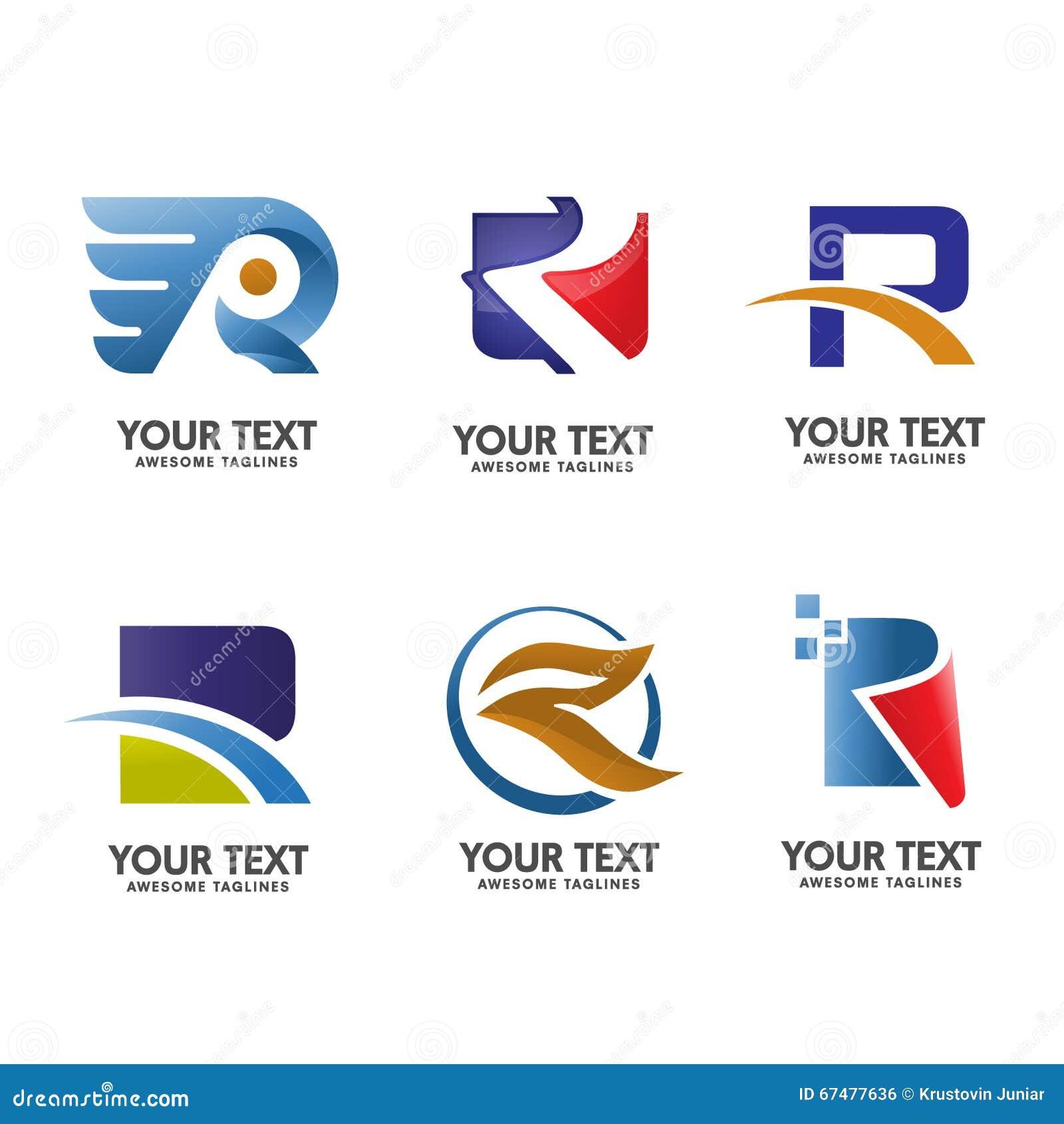 V Logo Template Set: Elegan Letter R Logo Set Stock Vector