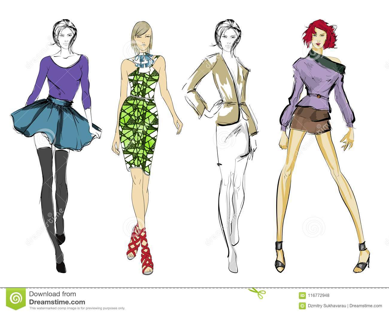 Eleganccy moda modele Ładne młode dziewczyny