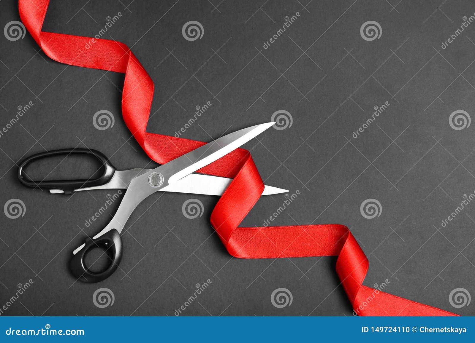 Eleganccy nożyce i czerwony faborek na czarnym tle, mieszkanie nieatutowy Ceremonialny taśmy rozcięcie