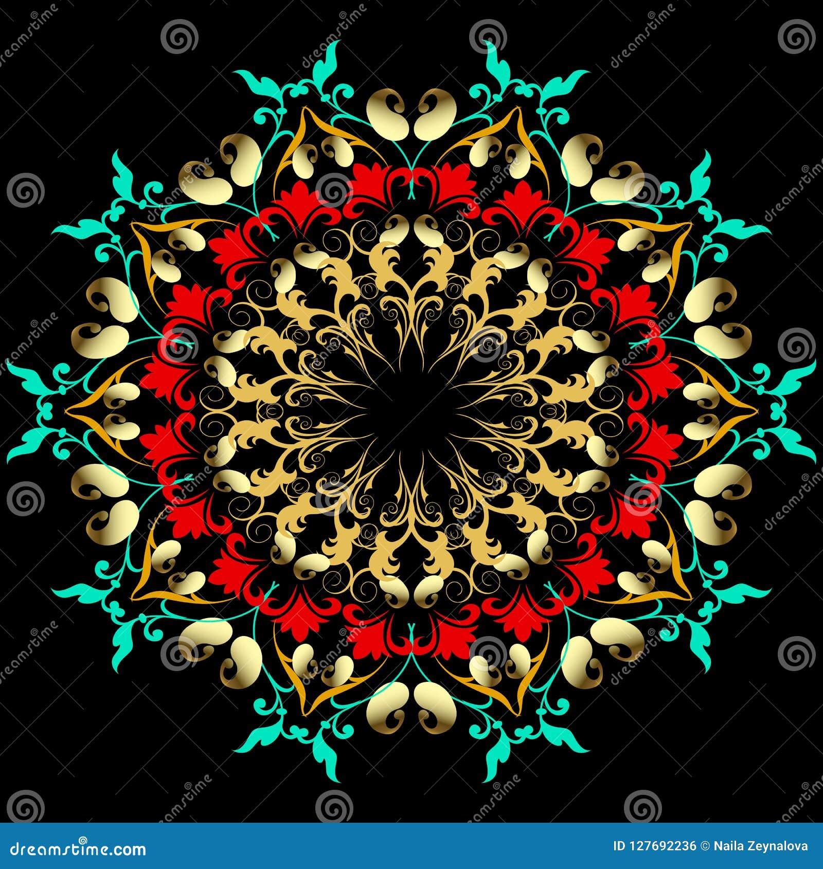 Elegance floral paisley mandala pattern. Baroque style damask ba