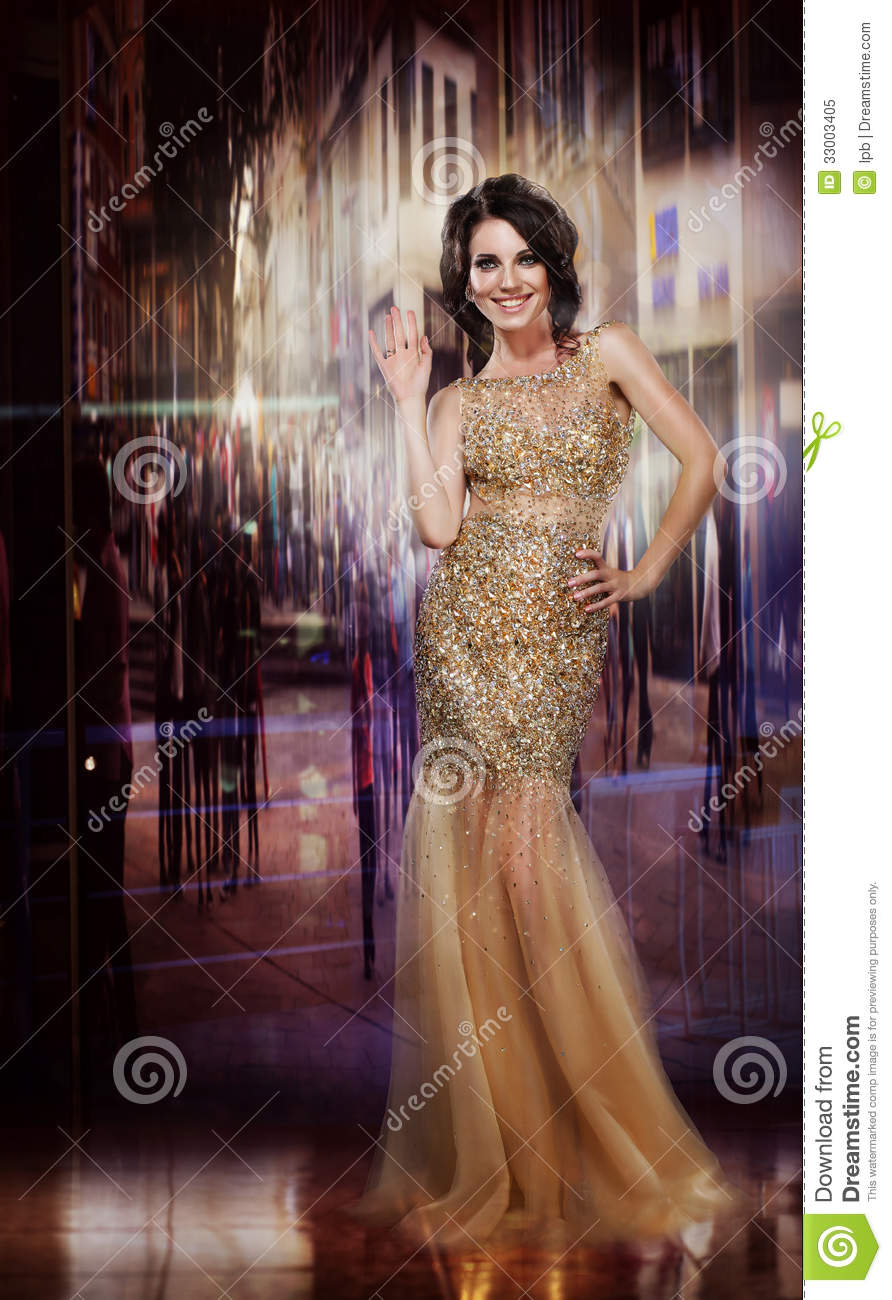 Elegance Glamorous Glorious Lady In Yellow Dress Formal