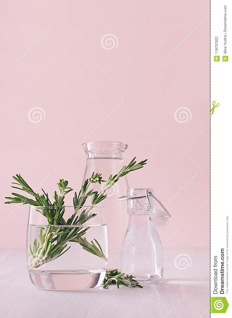Elegance home eco decor - aromatic bouquet of fresh rosemary in glass vase on white table and fashion pink background.