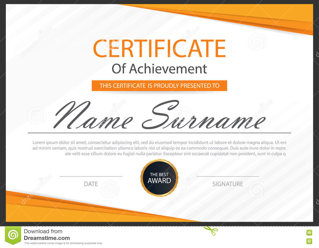 Elegance horizontal certificate with vector illustration white frame certificate template with for Vector certificate
