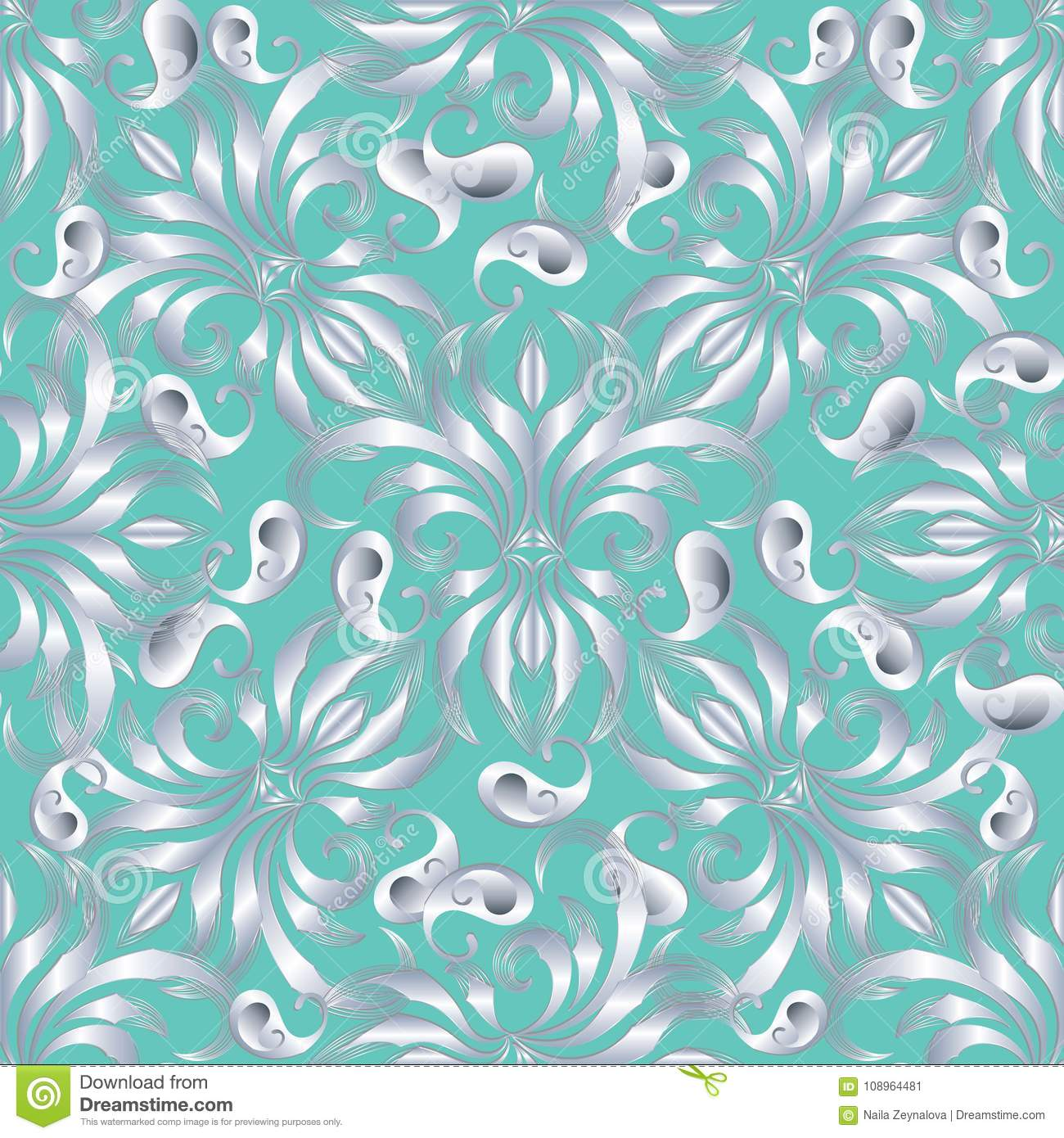 Elegance paisley seamless pattern. Vector floral turquoise background wallpaper illustration with vintage hand drawn silver