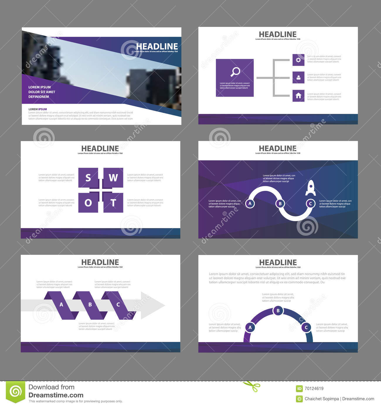 elegance purple presentation templates infographic elements flat, Templates