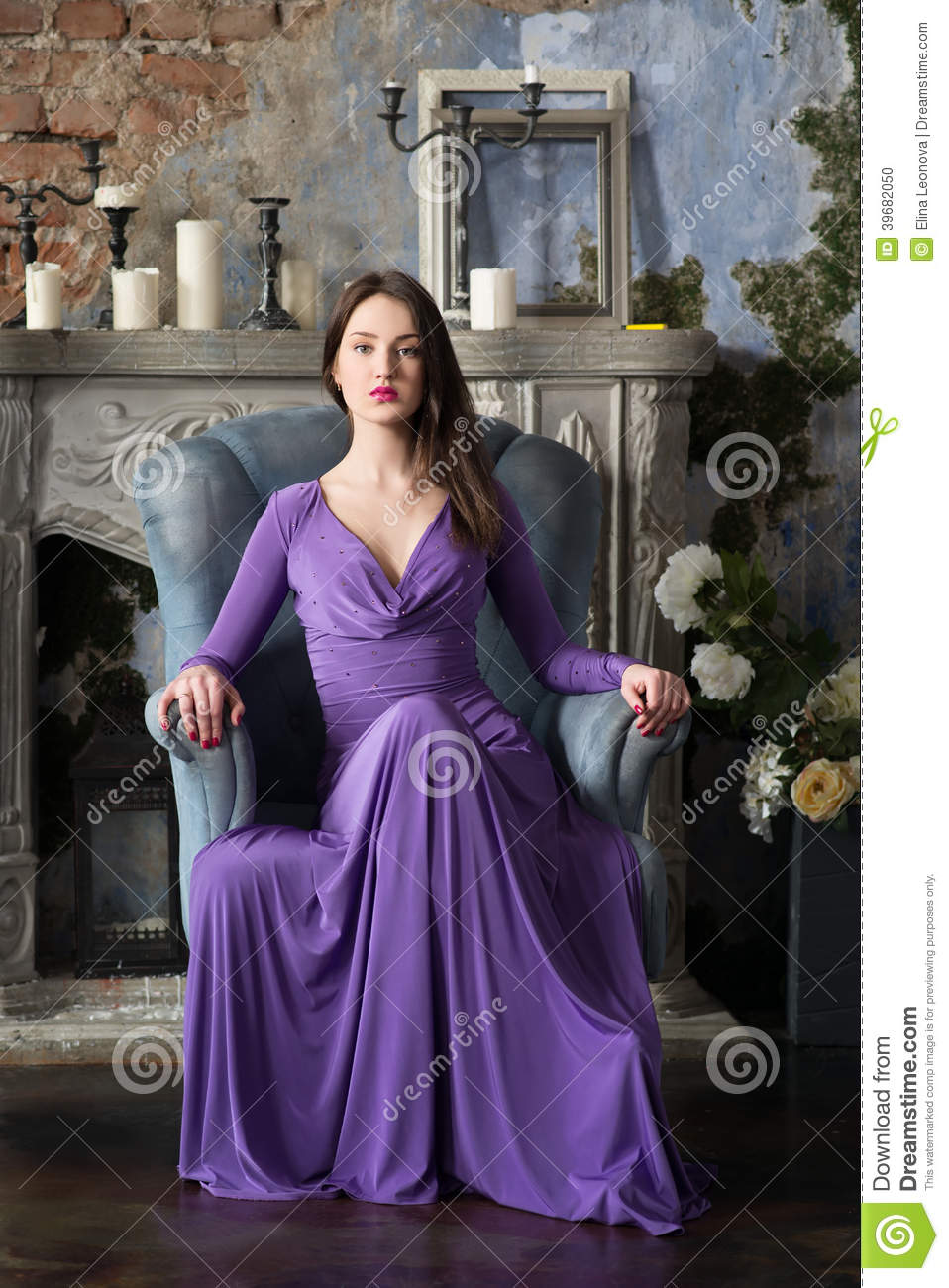 Elegance Woman In Long Violet Dress Sitting On Chair Indoor Stock Photo Image 39682050
