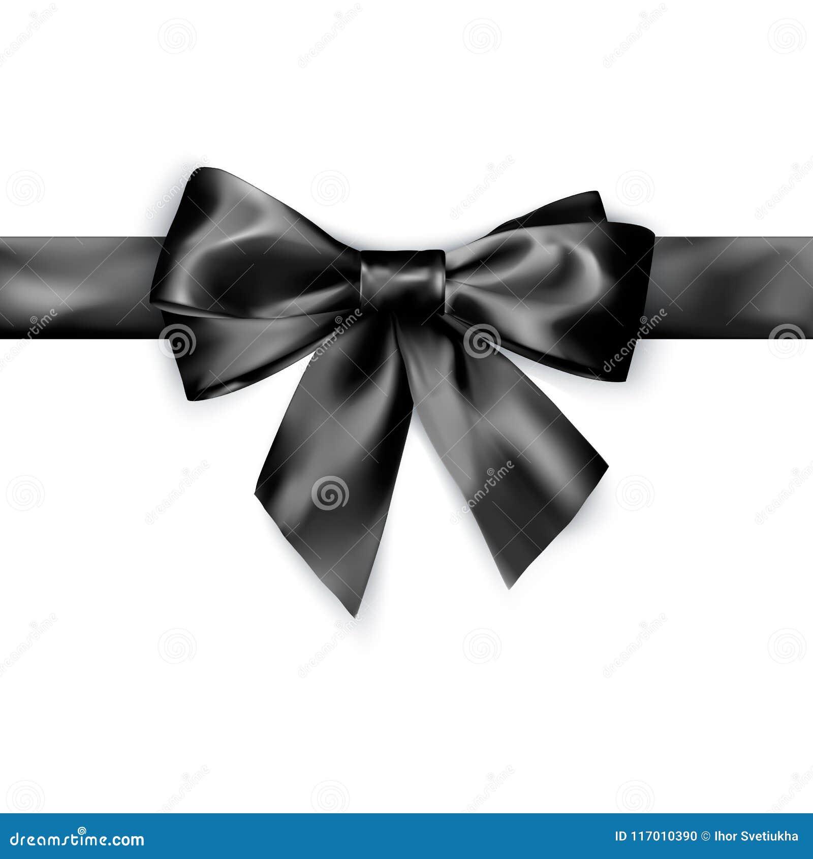 Elegancja czarny atłasowy łęk z faborkiem Wektorowa ilustracja odizolowywająca na biały tle