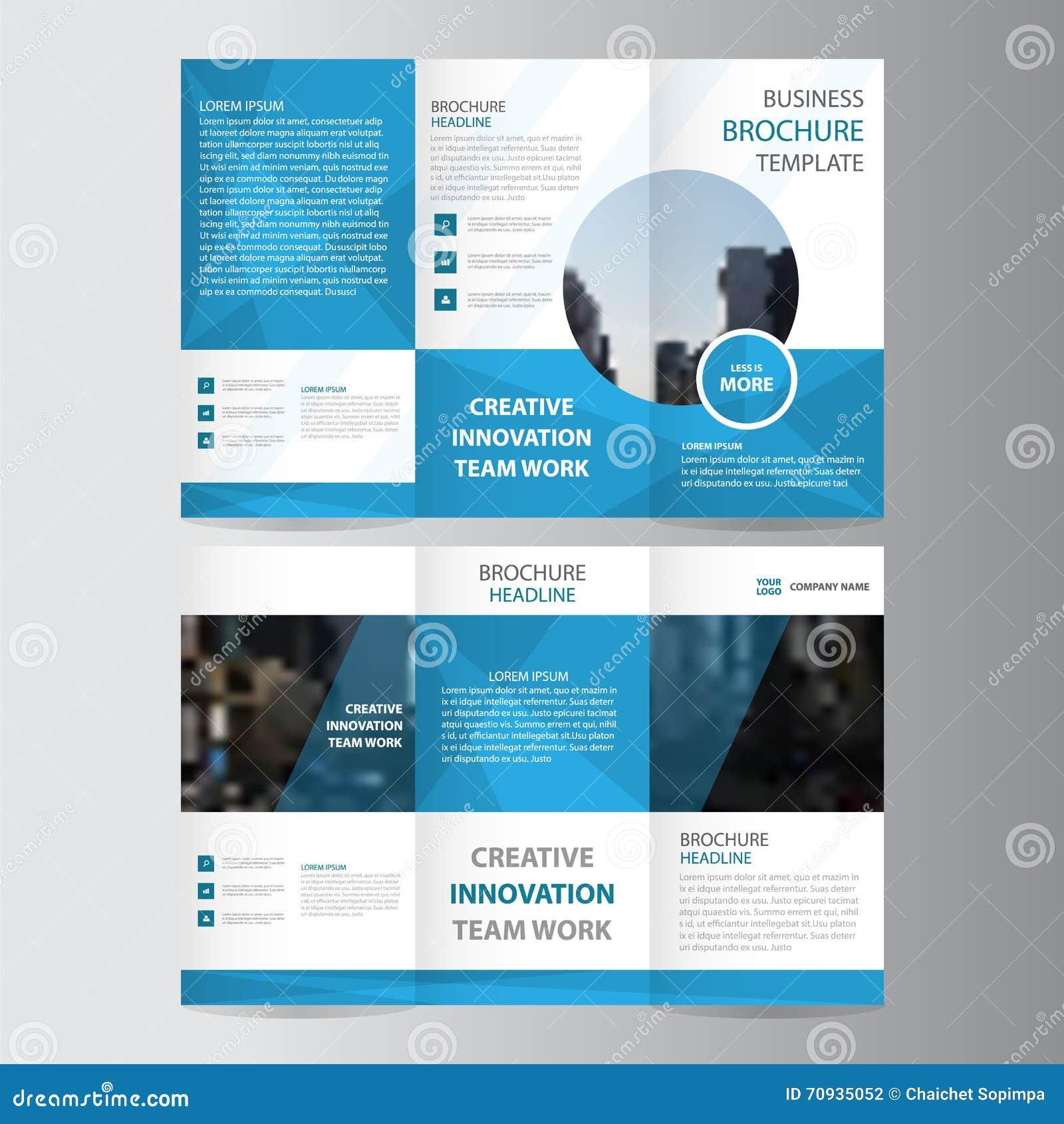 Elegancja wieloboka eleganci ulotki broszurki ulotki błękitnego biznesowego trifold biznesowego szablonu wektorowy minimalny płas