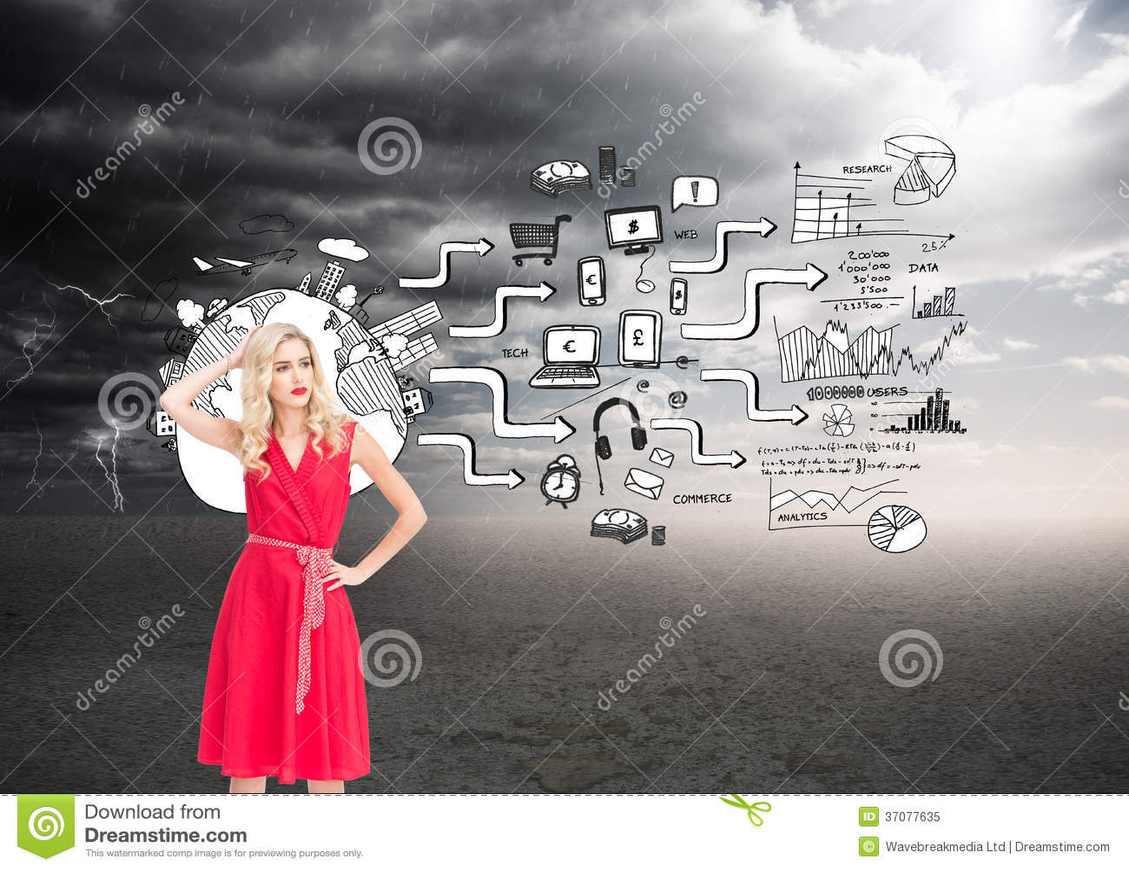 Download Elegancka Blondynki Pozyci Ręka Na Biodrze Ilustracji - Ilustracja złożonej z international, plan: 37077635