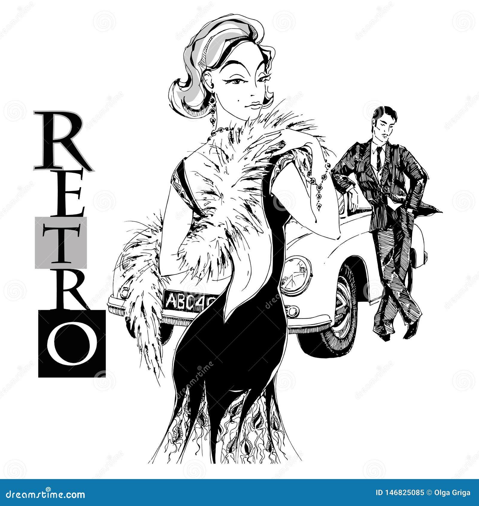 Elegancka dama i dżentelmen w retro stylu samoch?d grafit wektor