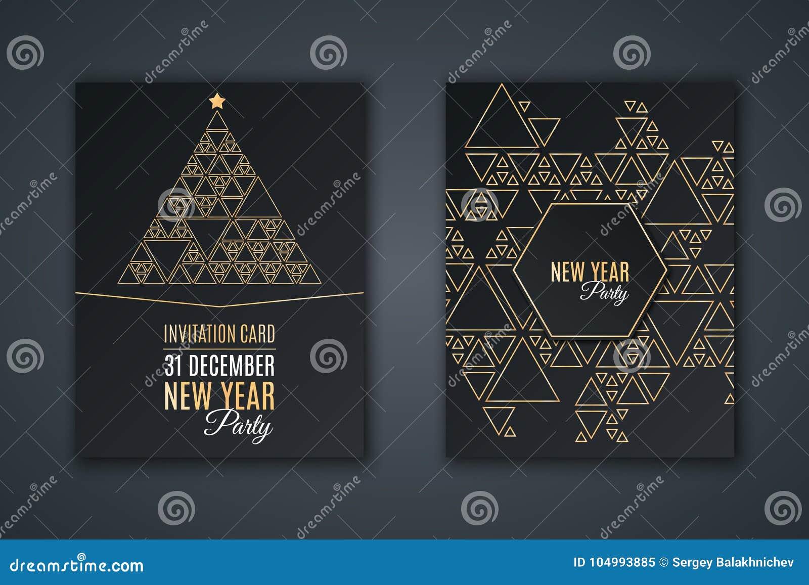 Elegancka zaproszenie karta dla nowego roku ` s przyjęcia Deseniowa mozaika robić złoci trójboki na czarnym tle Choinka robić