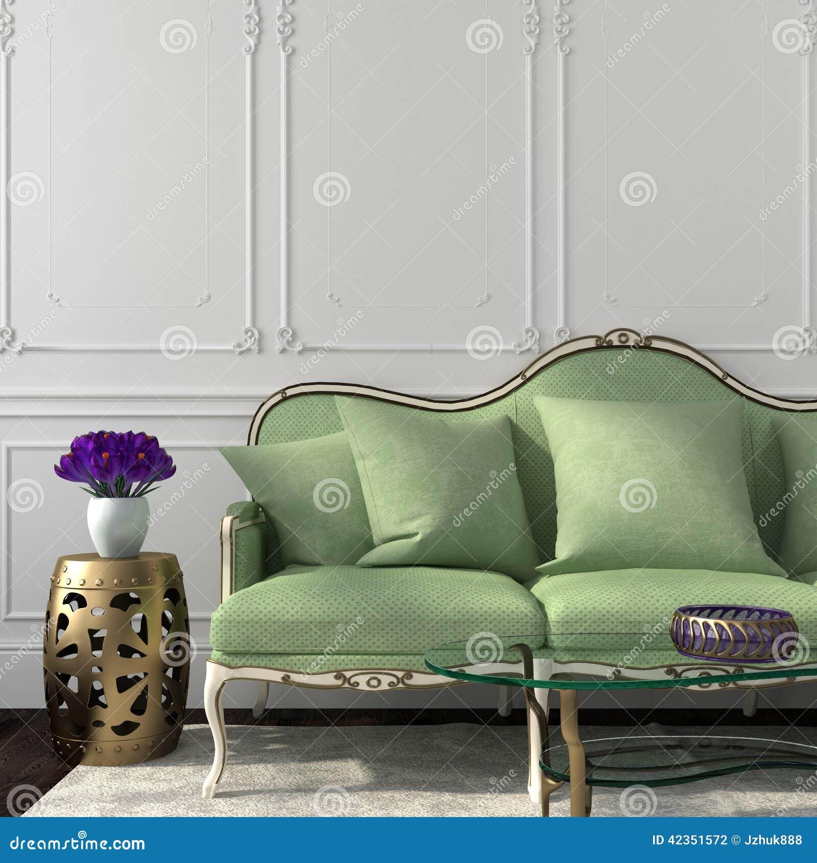 Elegancki żywy pokój z zieloną kanapą i stołem