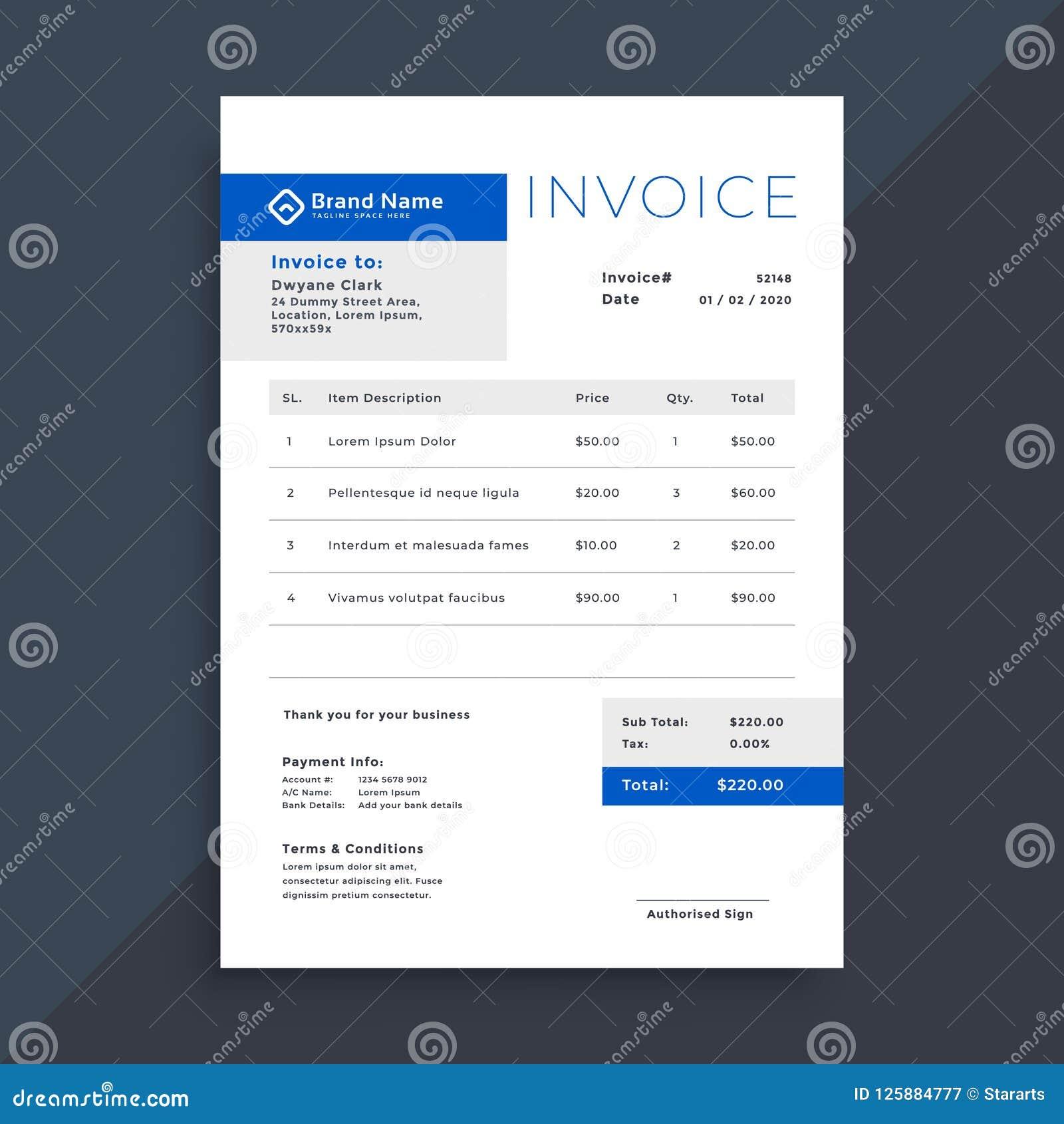 Elegancki błękitny biznes faktury szablon