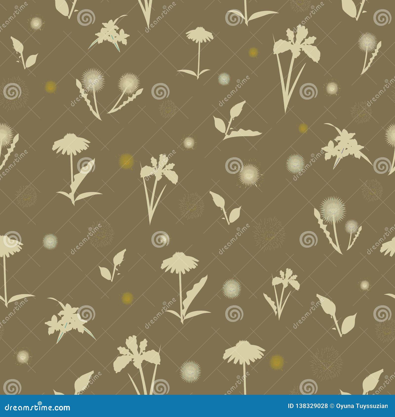 Elegancki bezszwowy wzór z ręka rysującymi dekoracyjnymi poślubników kwiatami, projektów elementy