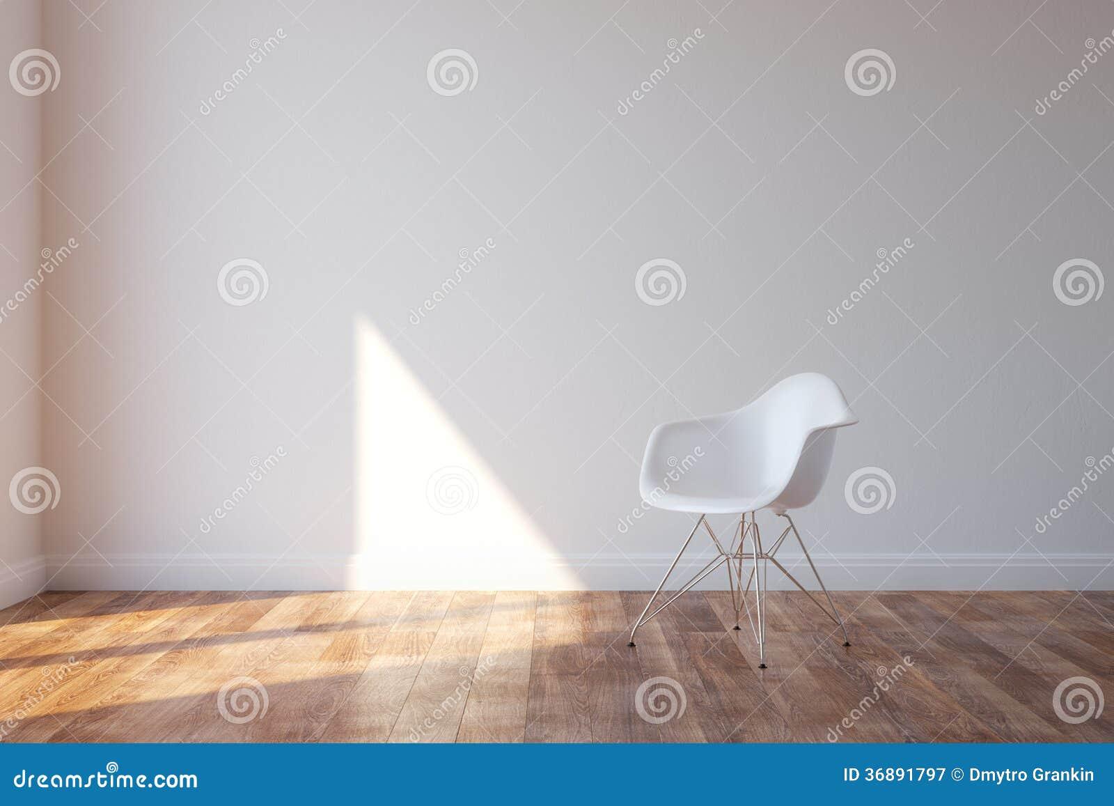 Elegancki Biały krzesło W minimalisty stylu wnętrzu