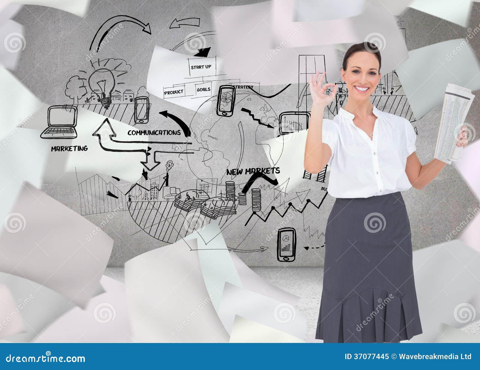 Download Elegancki Bizneswoman Robi Gestowi Podczas Gdy Trzymający Gazetę Obraz Stock - Obraz złożonej z bizneswoman, dane: 37077445