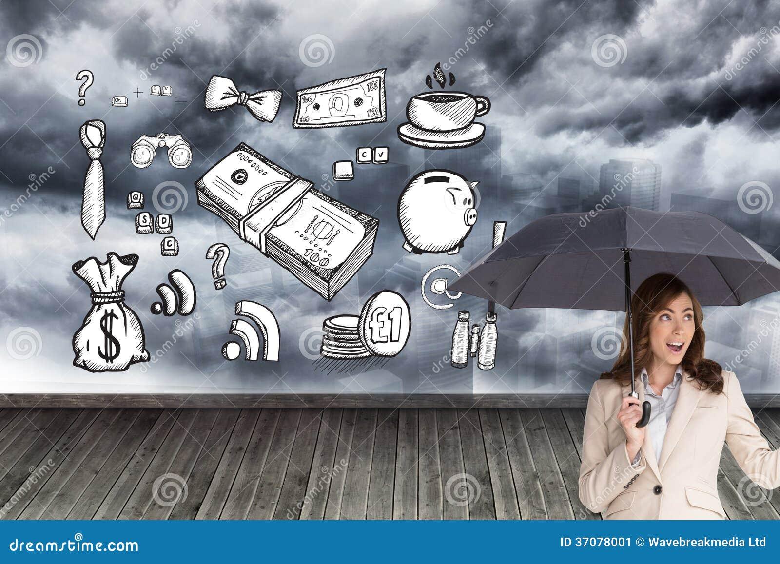 Download Elegancki Bizneswoman Trzyma Czarnego Parasol Obraz Stock - Obraz złożonej z wytwarza, prosiątko: 37078001