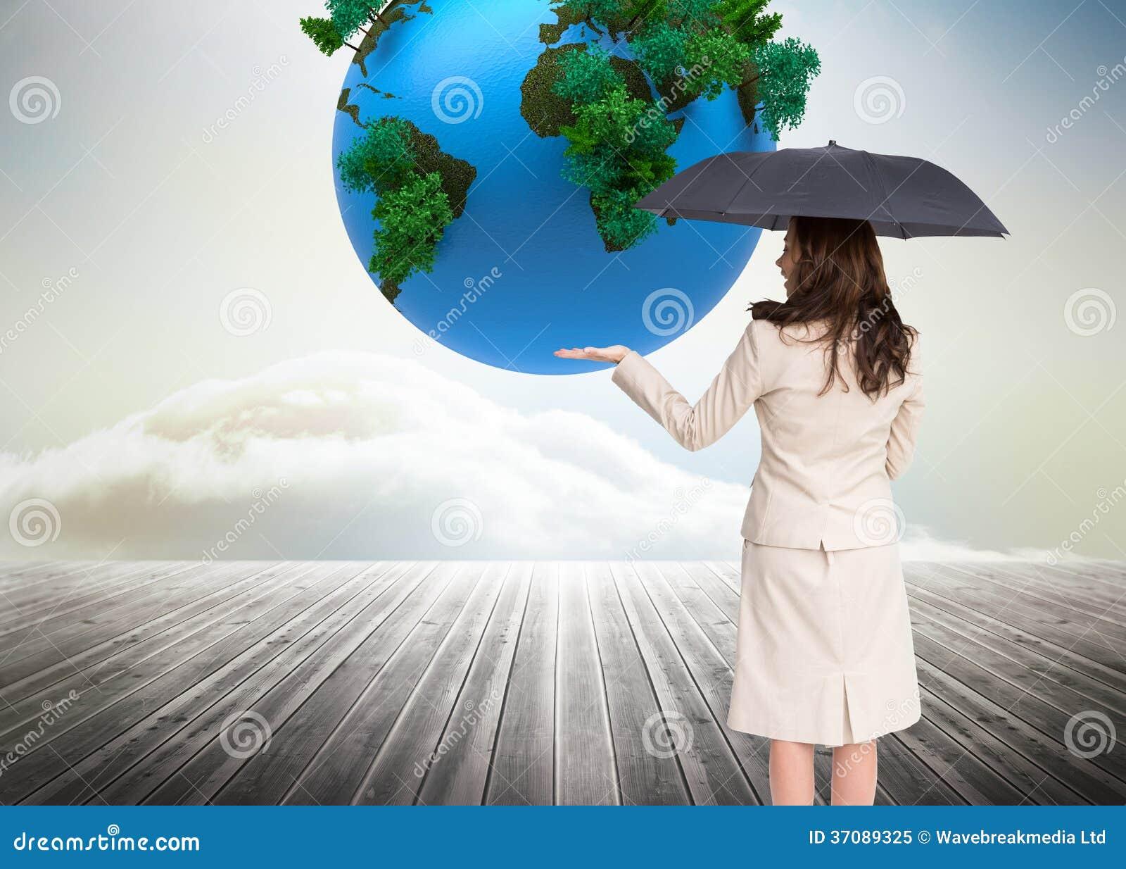 Download Elegancki Bizneswoman Trzyma Czarnego Parasol Obraz Stock - Obraz złożonej z deckle, digitise: 37089325
