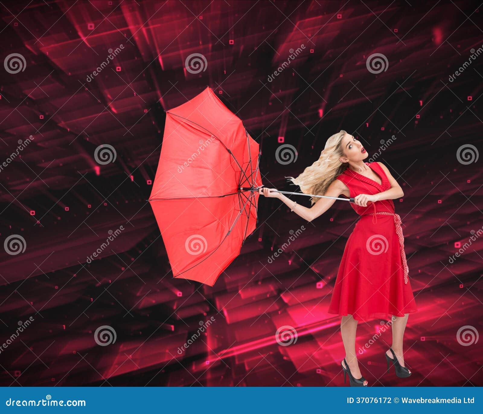 Download Elegancki Blondynki Mienia Parasol Ilustracji - Ilustracja złożonej z piękny, jeden: 37076172