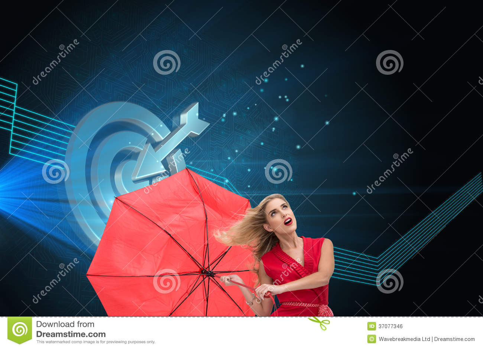 Download Elegancki Blondynki Mienia Parasol Ilustracji - Ilustracja złożonej z technologia, komputer: 37077346