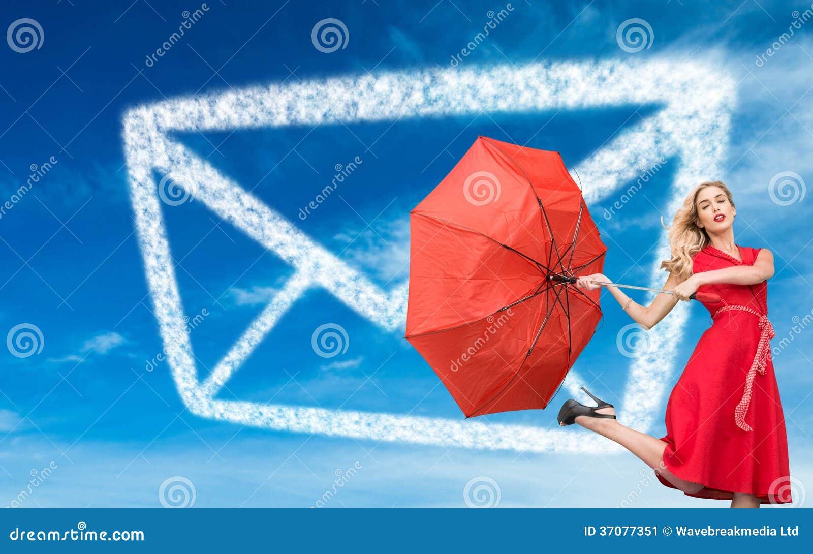Download Elegancki Blondynki Mienia Parasol Ilustracji - Ilustracja złożonej z jaskrawy, śliczny: 37077351