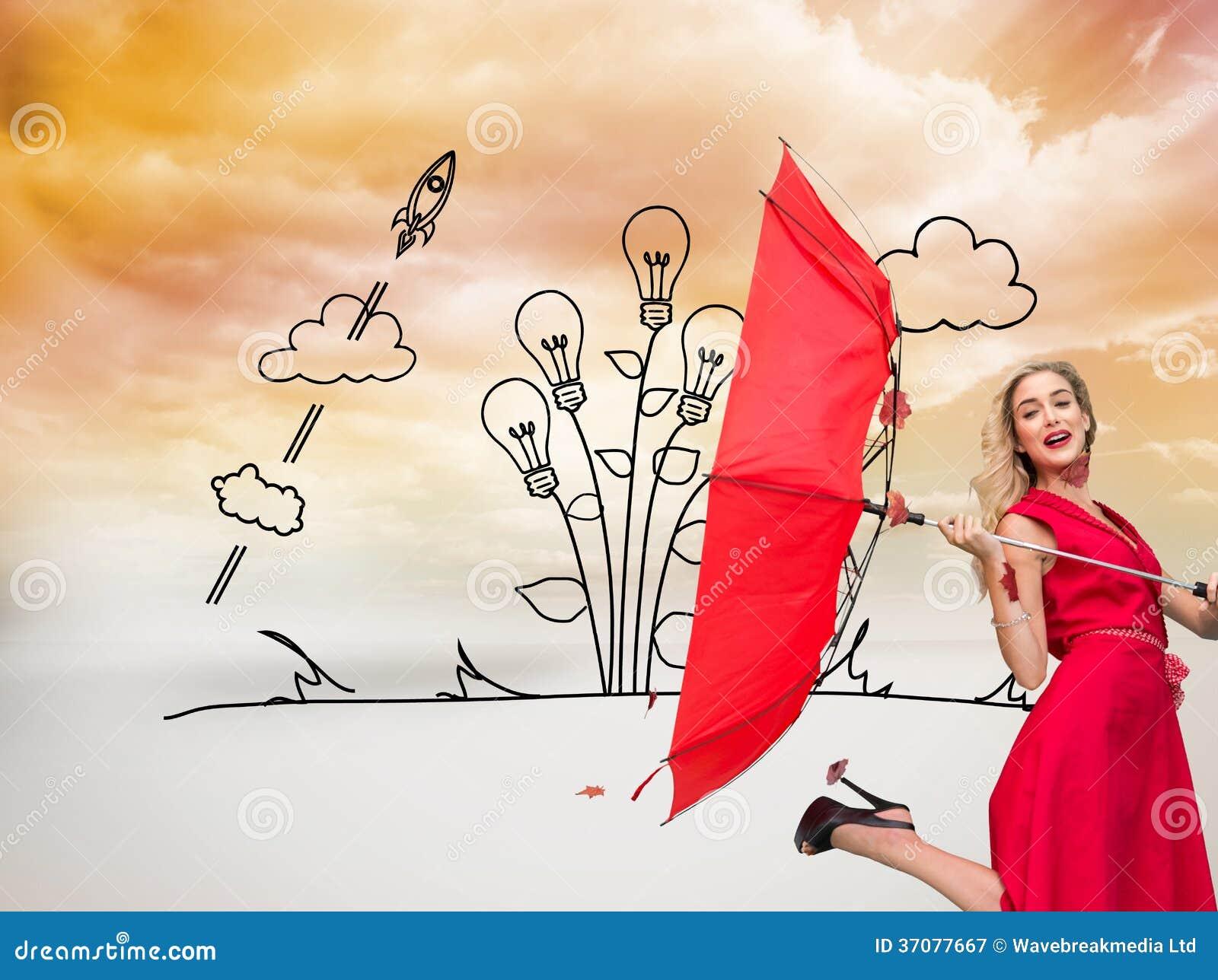 Download Elegancki Blondynki Mienia Parasol Ilustracji - Ilustracja złożonej z rozwojowy, grafika: 37077667