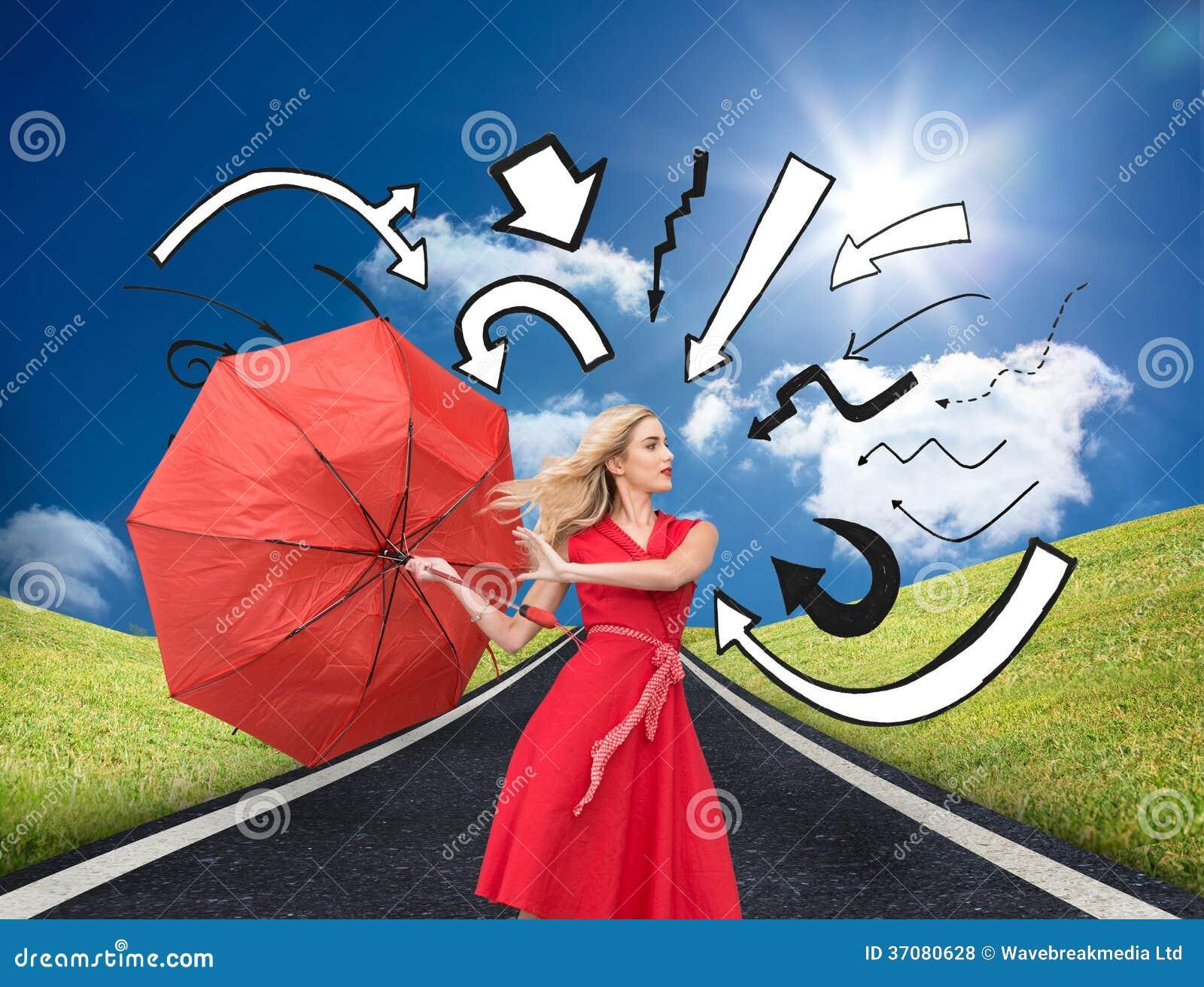 Download Elegancki Blondynki Mienia Parasol Ilustracji - Ilustracja złożonej z potomstwa, piękno: 37080628