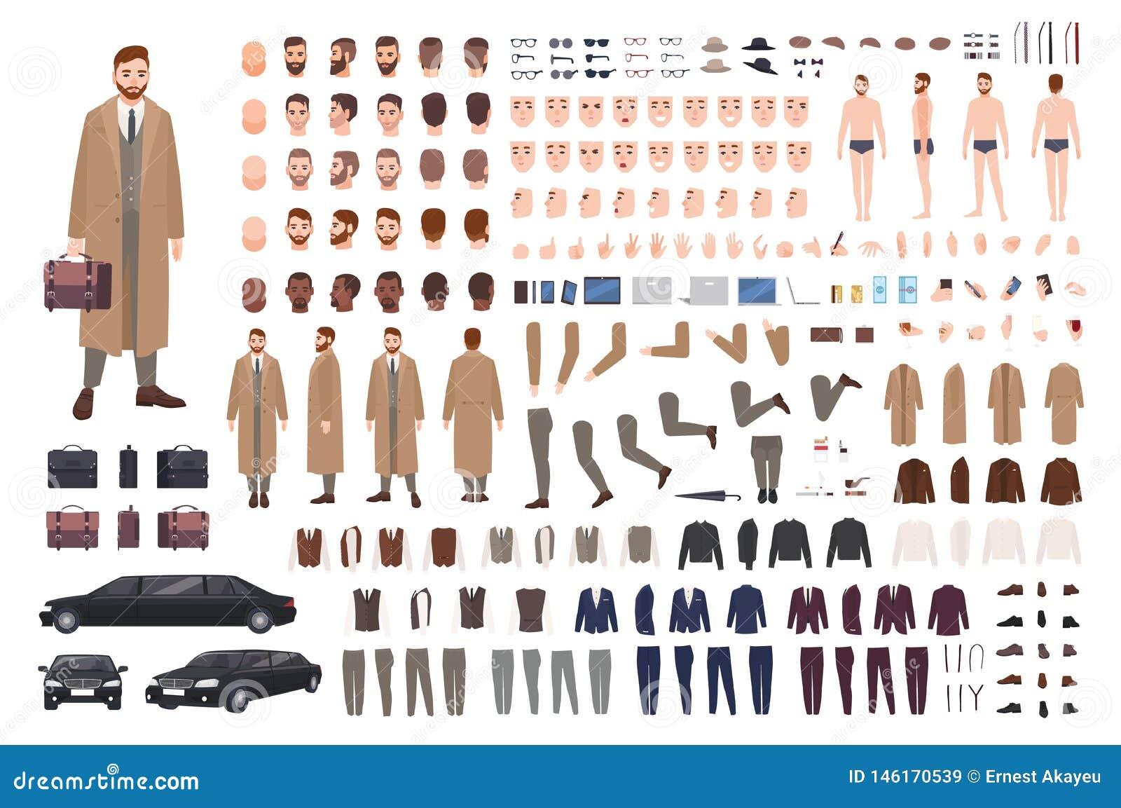 Elegancki brodaty mężczyzna w żakiet animacji secie lub DIY zestawie Kolekcja części ciałe, postury, fryzury, eleganckie odziewa