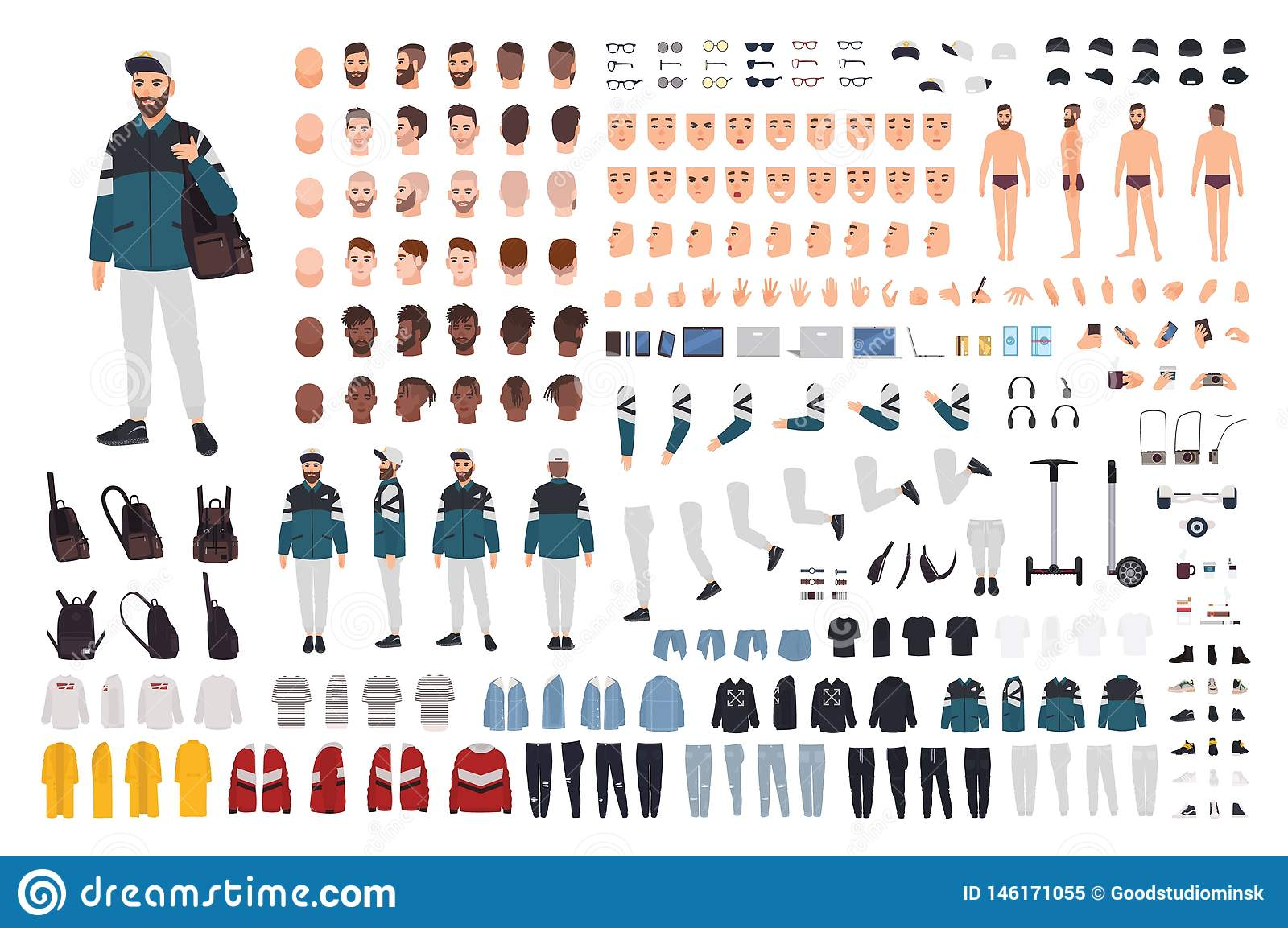 Elegancki brodaty mężczyzna w modnym ulica stylu stroju DIY zestawie Plik części ciałe, przypadkowi ubrania, fryzury, akcesoria