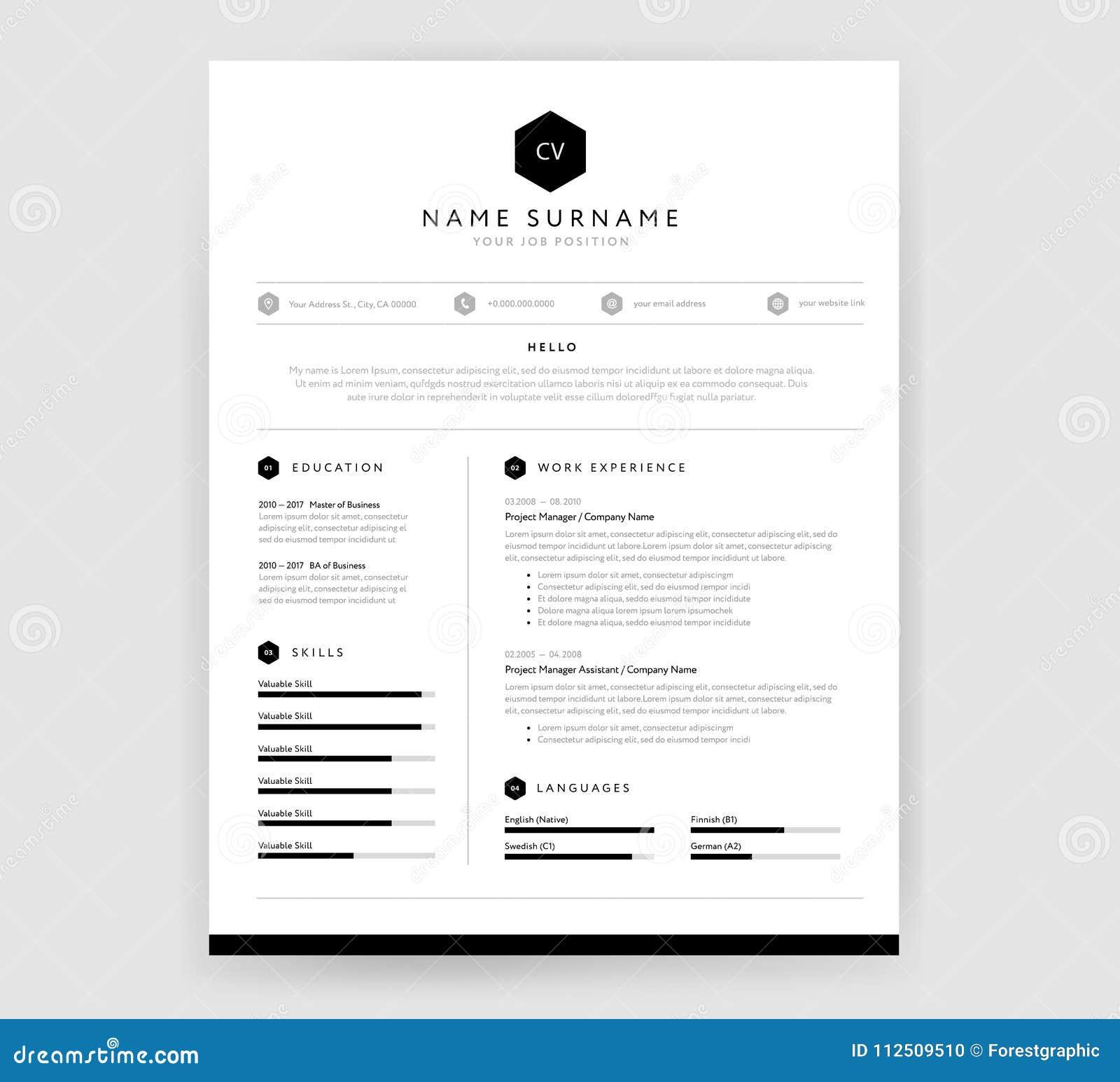 Elegancki CV życiorysu szablonu projekt dla kreatywnie osoby - wektor