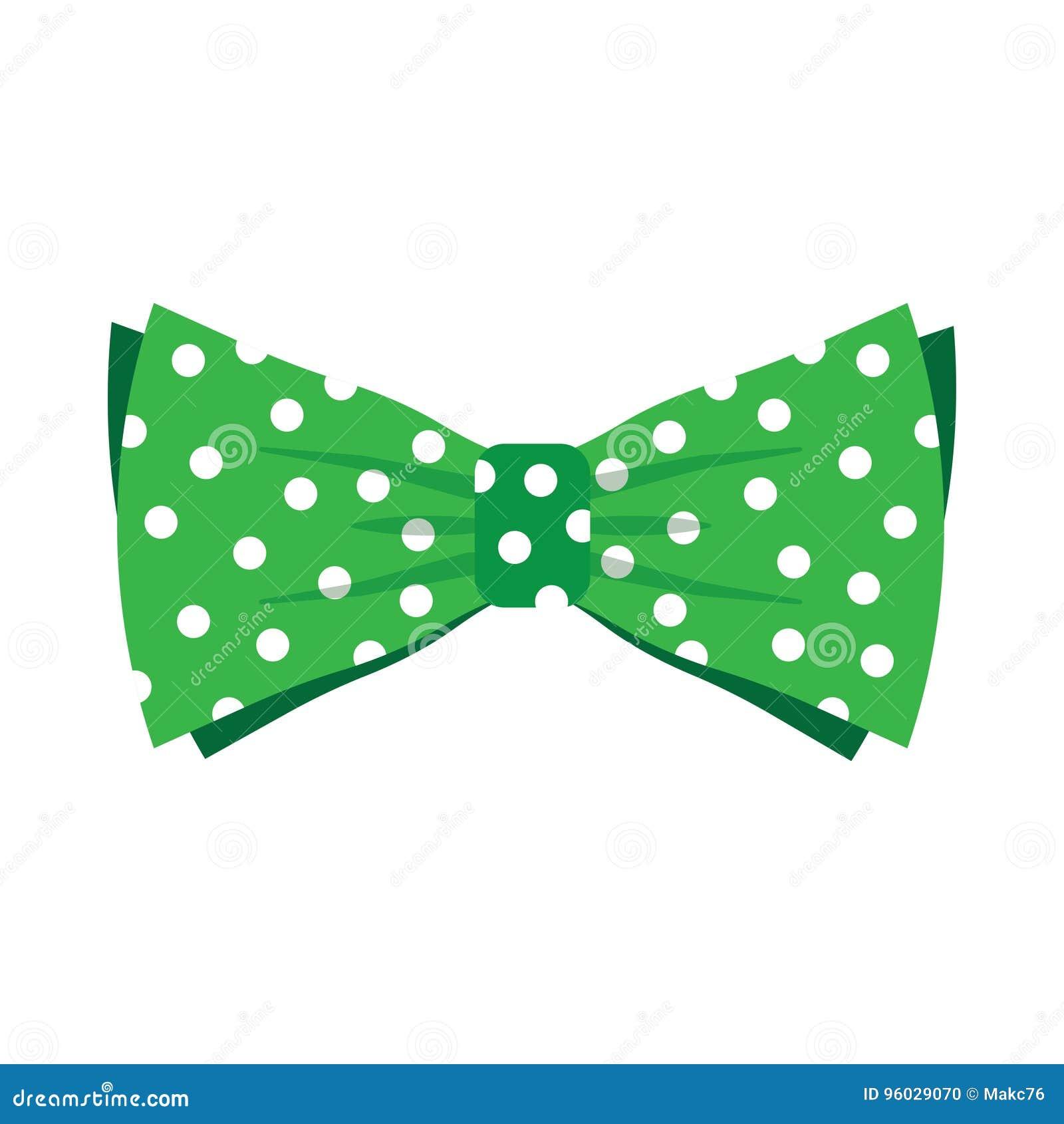Elegancki zielony łęku krawat z białymi polek kropkami