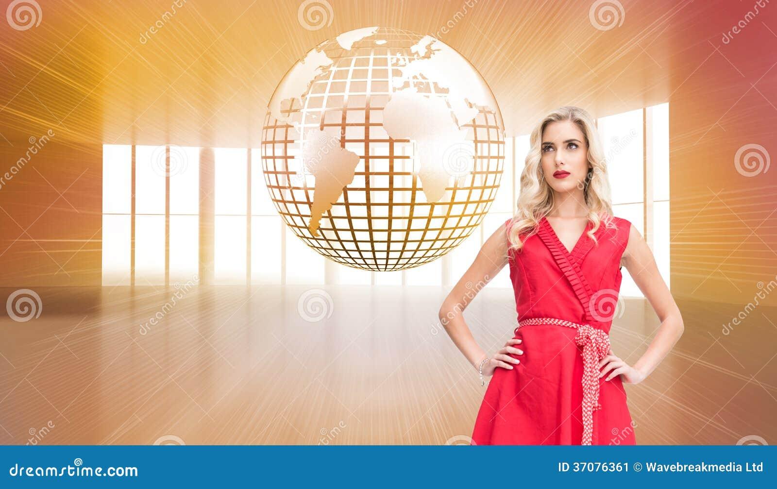 Download Eleganckie Blondynki Pozyci Ręki Na Biodrach Ilustracji - Ilustracja złożonej z griddle, osoba: 37076361
