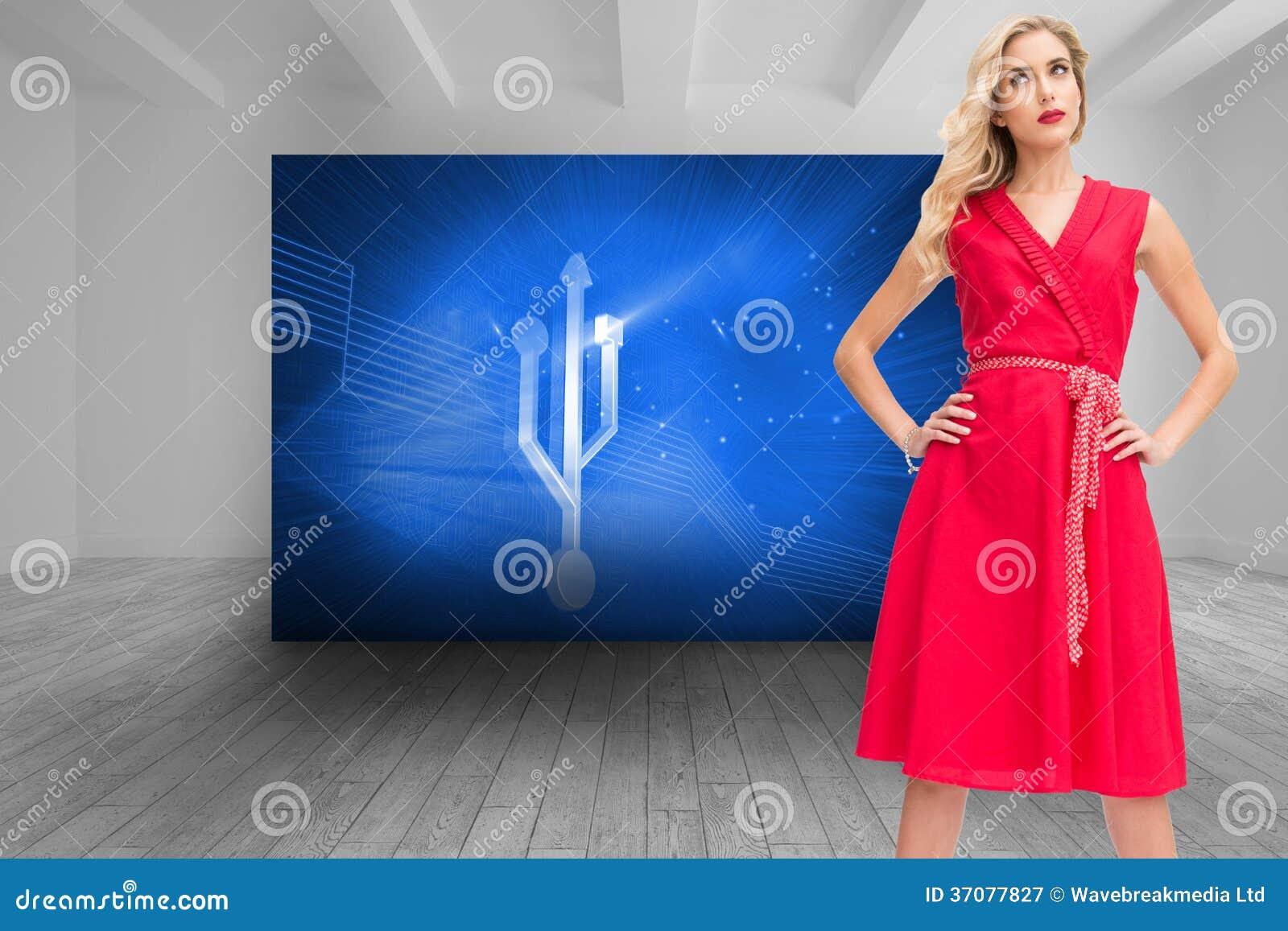 Download Eleganckie Blondynki Pozyci Ręki Na Biodrach Ilustracji - Ilustracja złożonej z wytwarza, technologia: 37077827