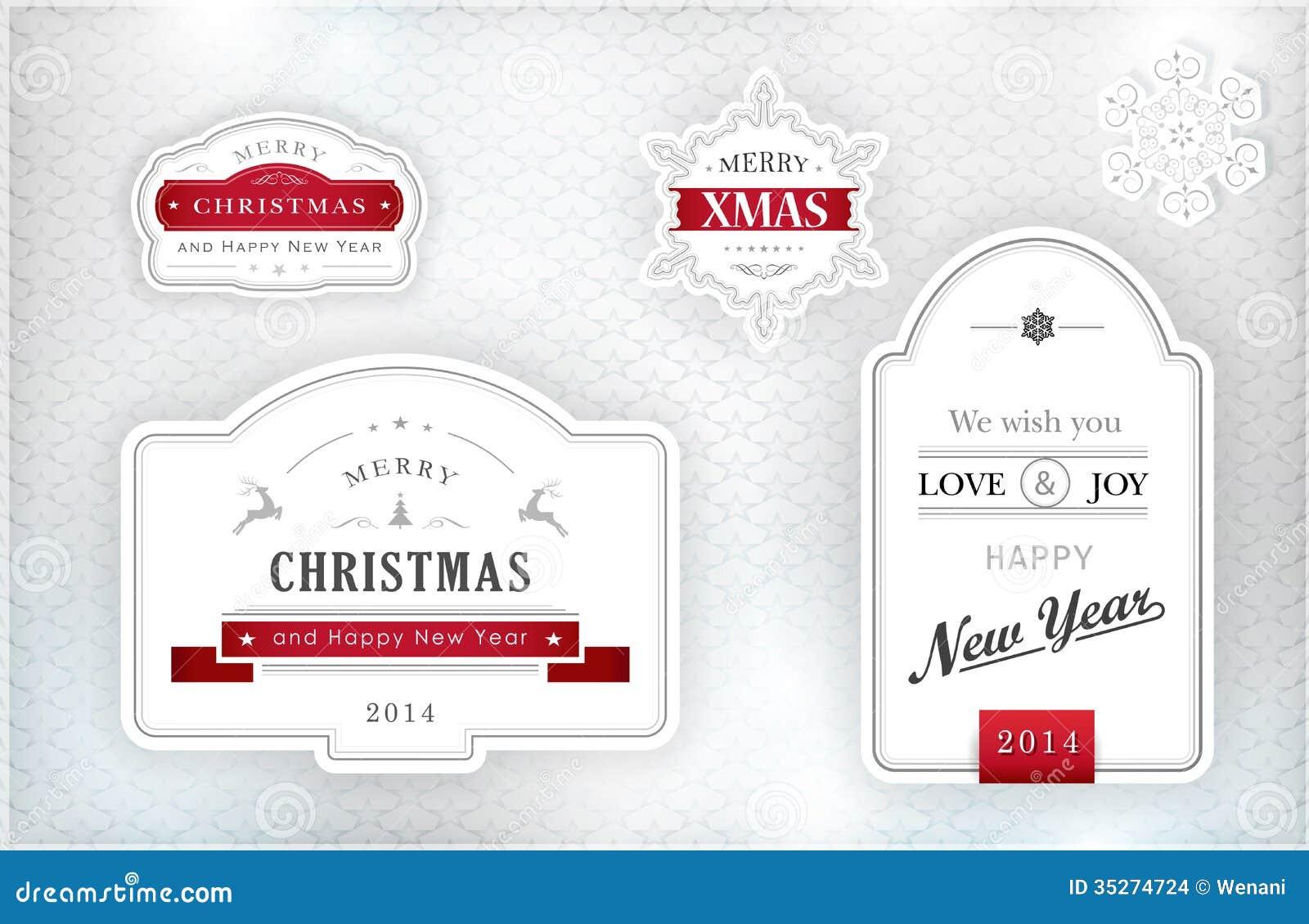 Eleganckie Bożenarodzeniowe etykietki, emblematy