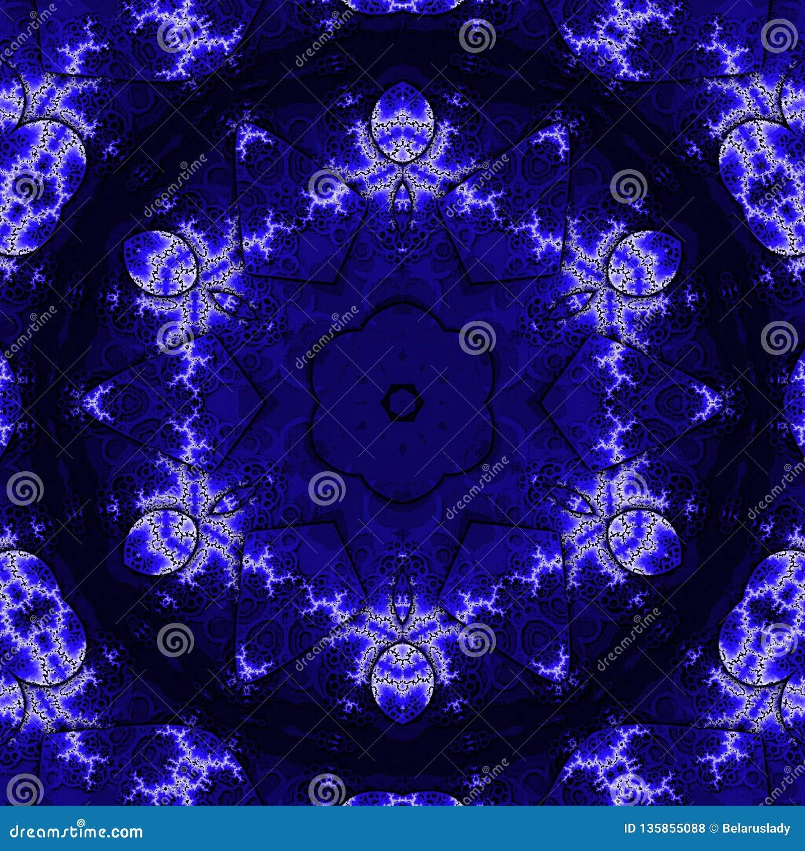 Eleganckiego rocznika tapetowy projekt Koronkowy wzór Retro wiktoriański w indygowym i błękitnym kolorze