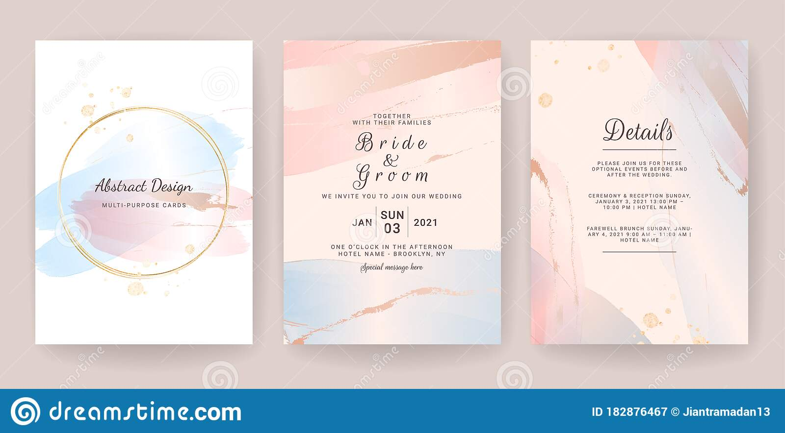 Wedding invitation wedding invitation set gold foil Stroke of Gold save the date Golden Painted Design