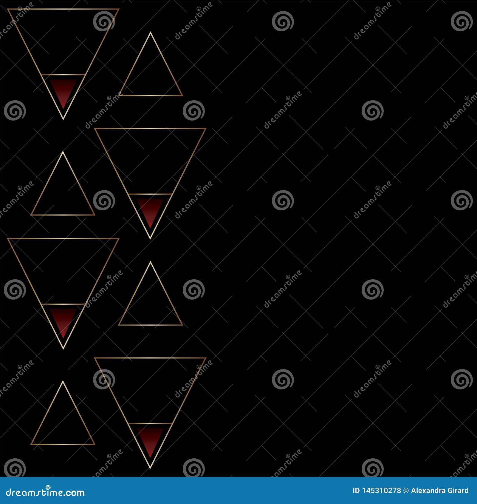 Elegant abstrakt svart och guld- modell med triangelformer Små röda lutningdetaljer Textutrymme