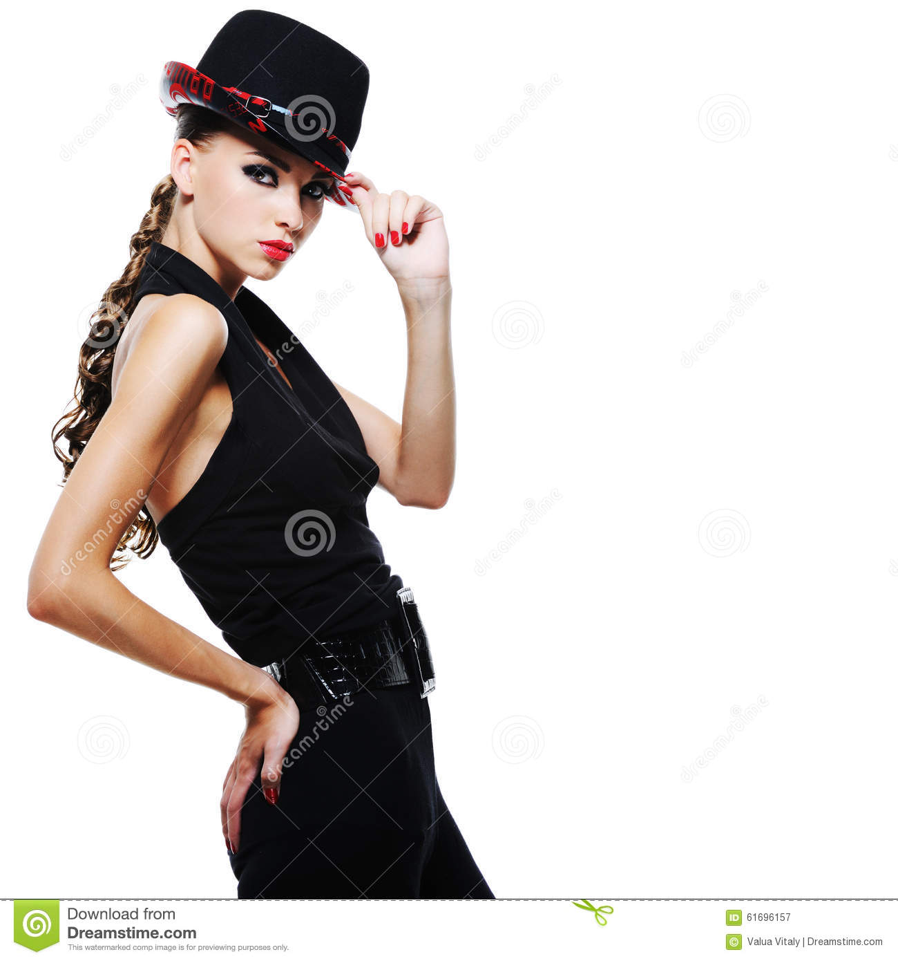 Elegant Adult Girl In Black With Stylish Black Hat Stock Image ... 0a695377de9