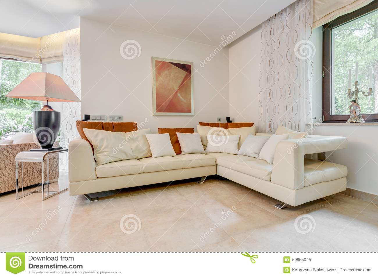 Fabulous Elegant Angled Leather Sofa Stock Image Image Of Furnished Caraccident5 Cool Chair Designs And Ideas Caraccident5Info