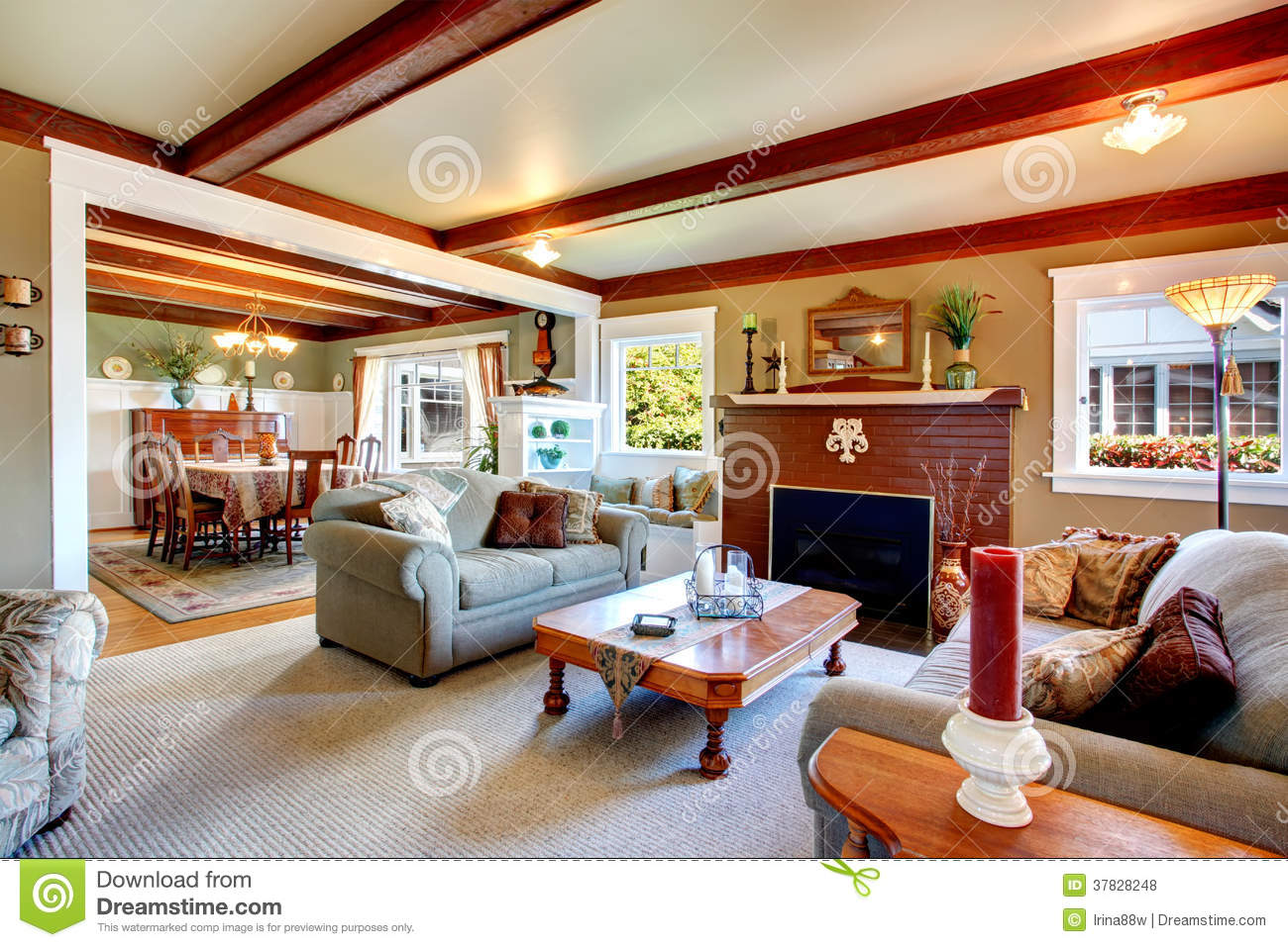 Elegant Antique Style Living Room With Dining Area Royalty Free Stock Photos Image 37828248