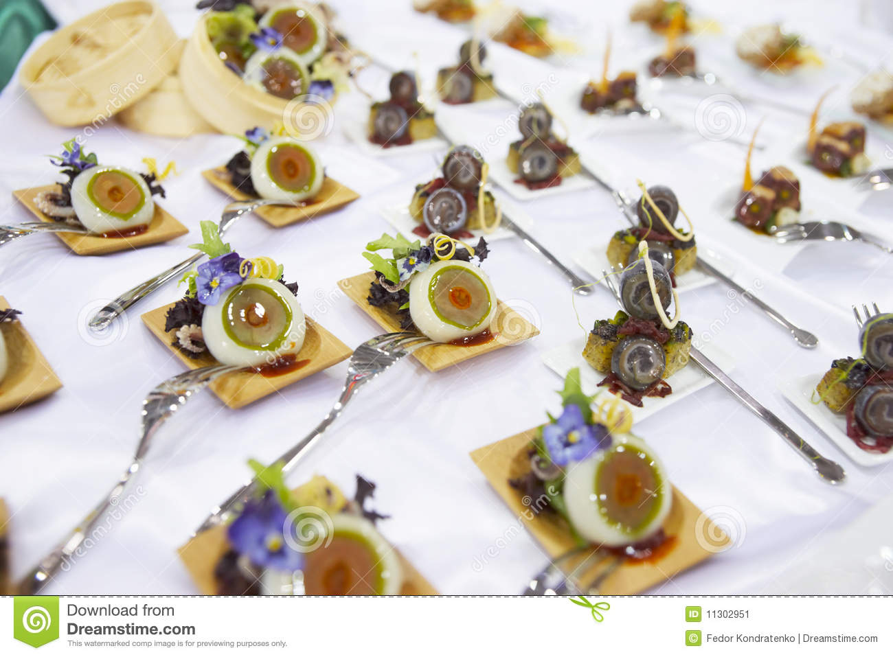Elegant Appetizers On Banquet Table Stock Image