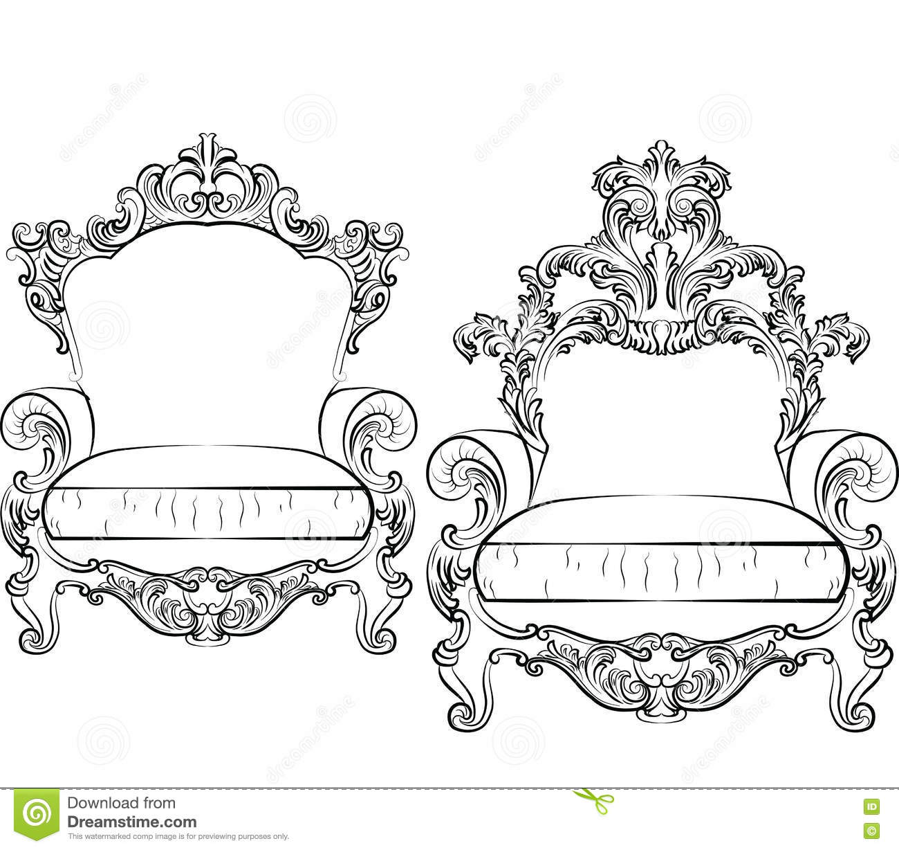 Elegant Armchair Set With Luxurious Rich Ornaments Stock ...